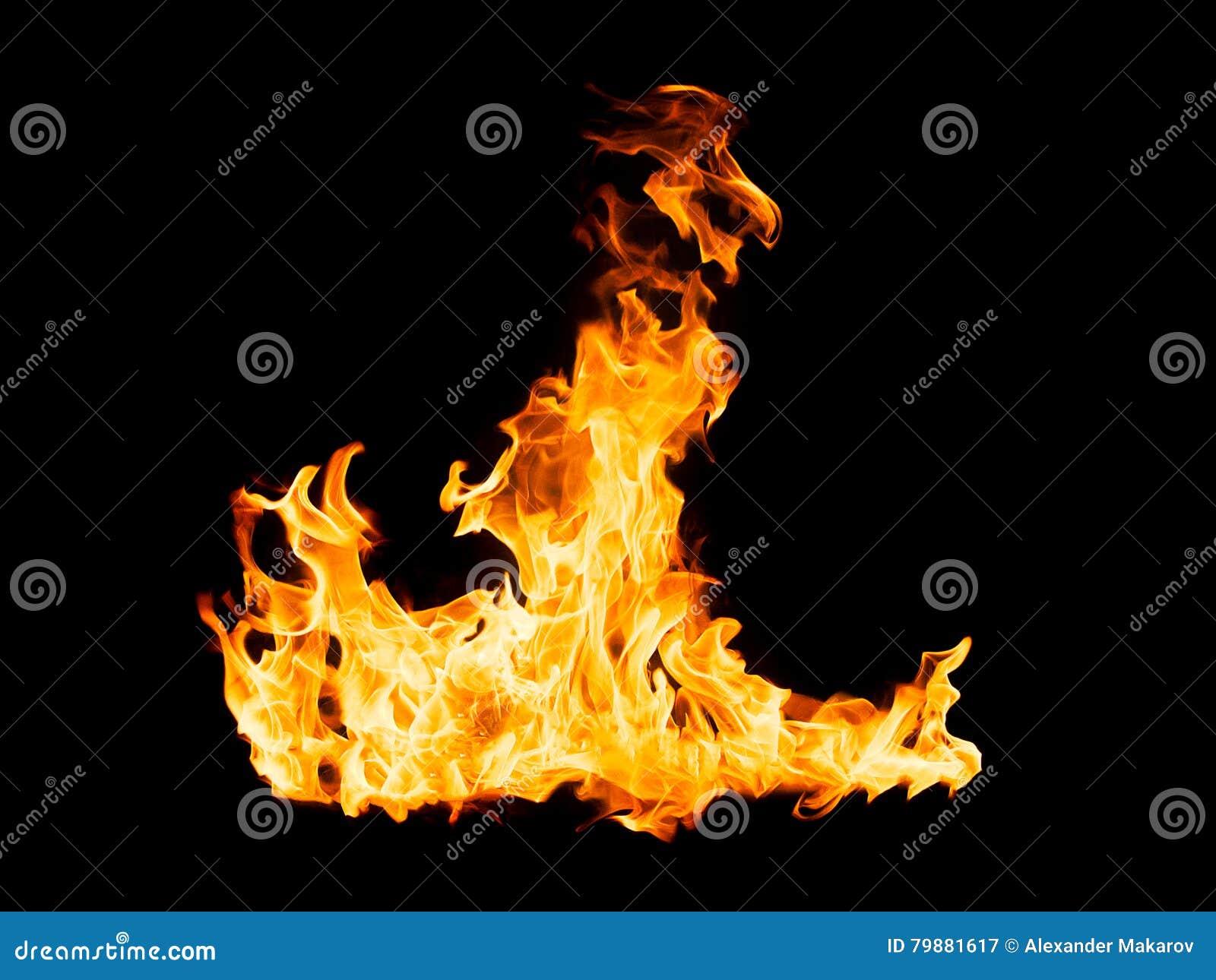 Brandvlammen - op zwarte achtergrond worden geïsoleerd die