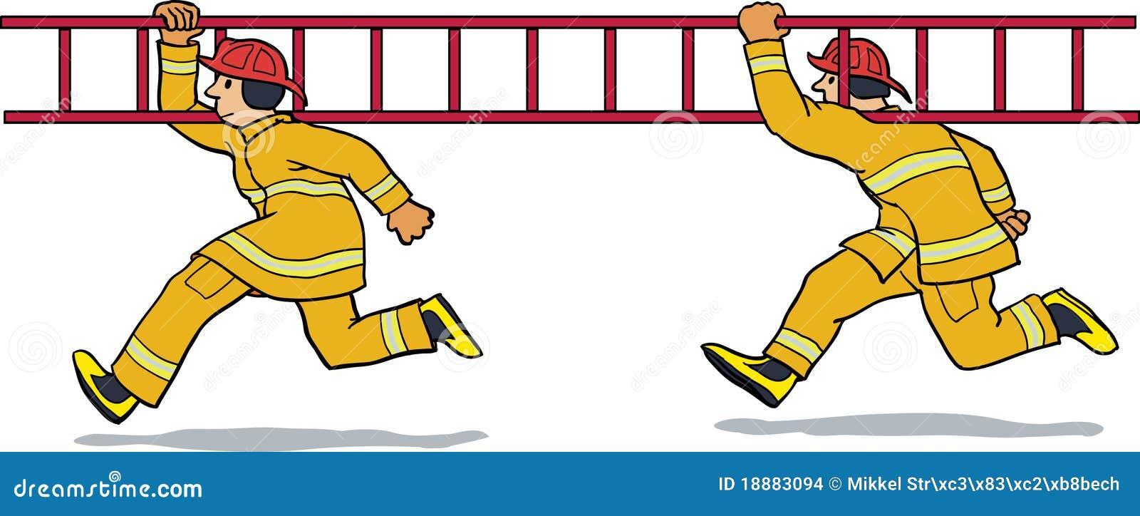 Brandweerlieden Die Met Ladder Lopen Stock Afbeeldingen ...