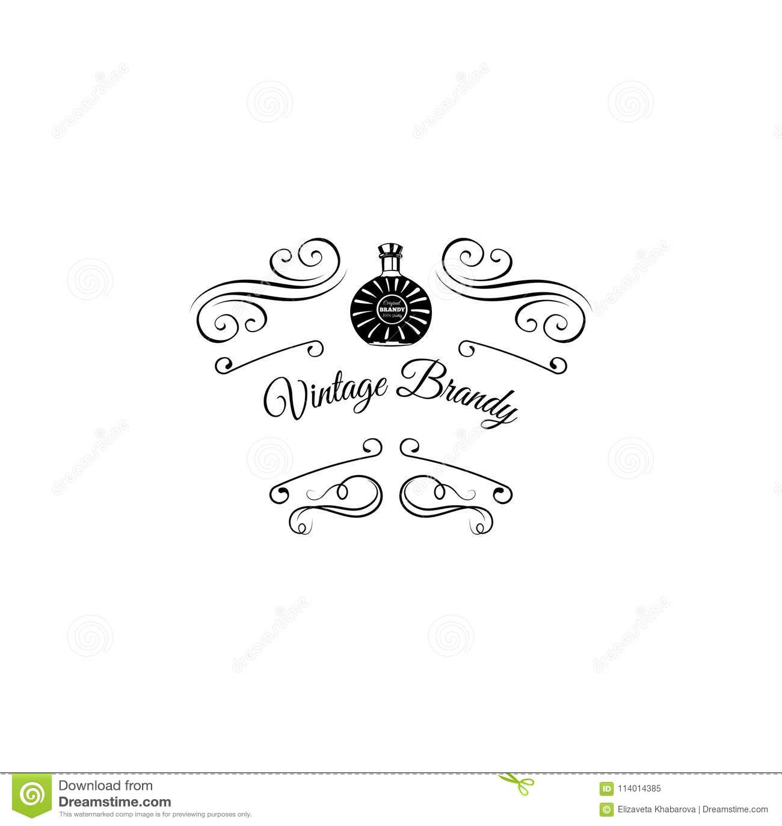 Brandy bootle ikona alkoholiczny napój Alkoholu menu projekt Zawijasy, dekoracje wektor