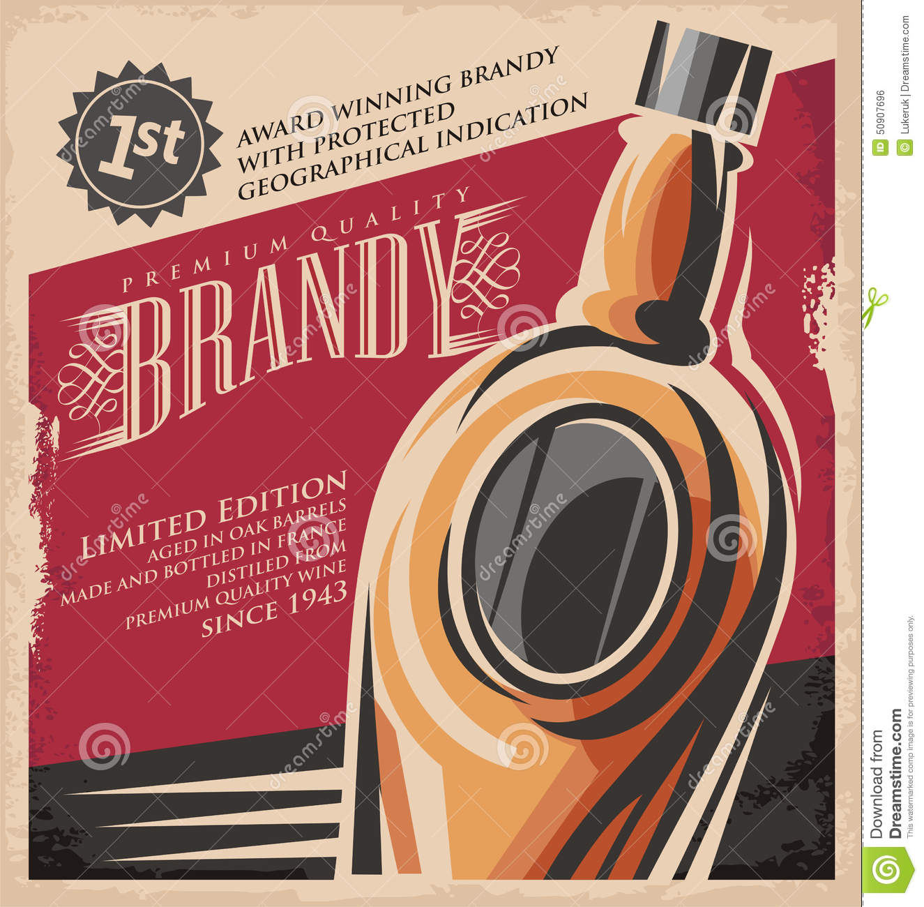 Brandy vintage poster design template stock vector image 50907696 for Old poster template