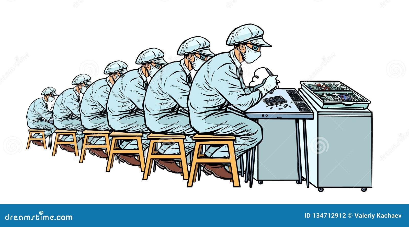 Bransch Elektronikproduktionsanläggning Många arbetare