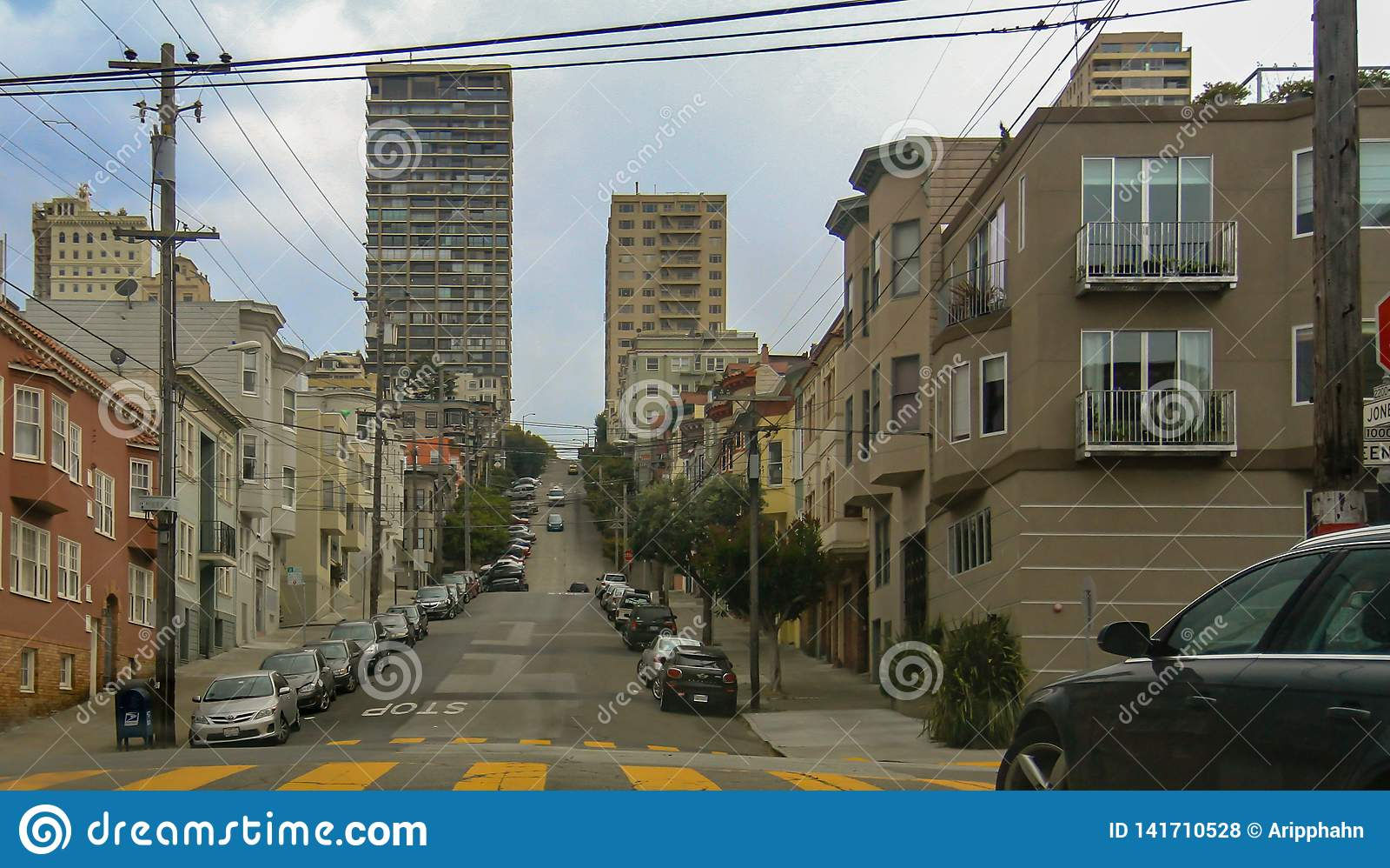 Brant stadsgata i San Francisco, USA