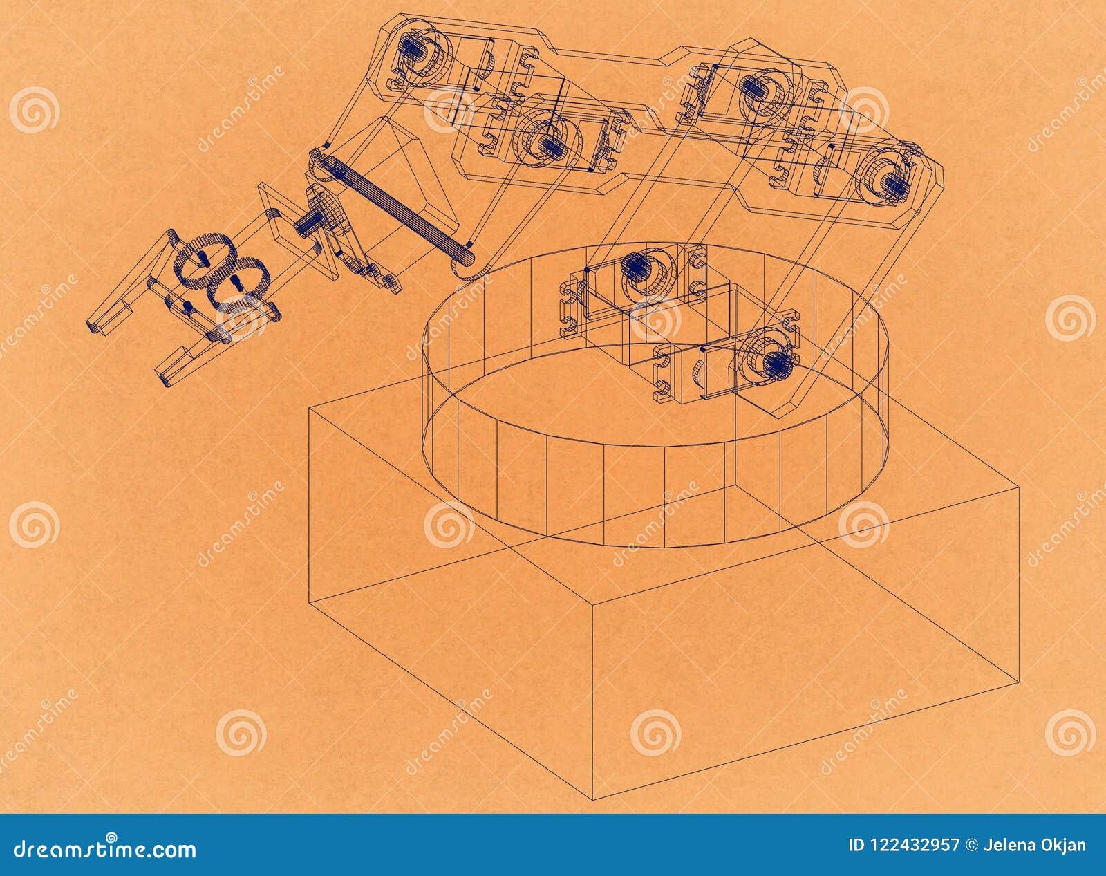 Bras robotique industriel - rétro architecte Blueprint