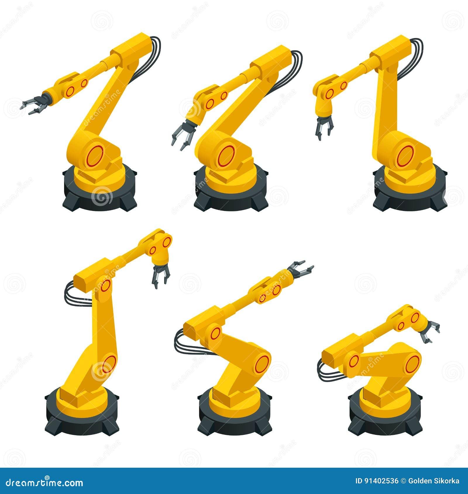 Bras robotique isométrique, main, icônes plates de vecteur de robot industriel réglées Analyses d industrie de robotique Des véhi