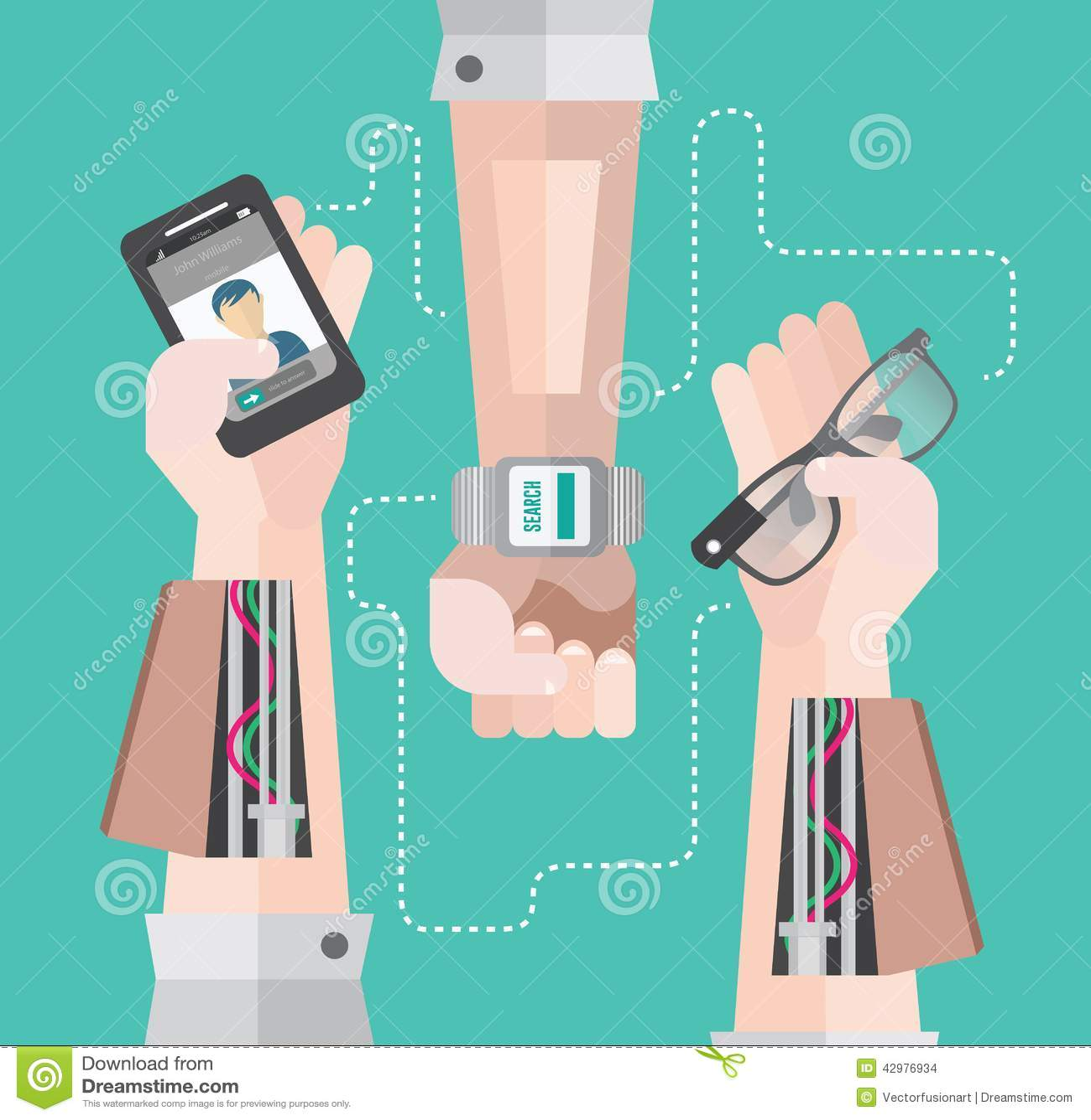 Bras robotiques avec le smartphone et la montre intelligente