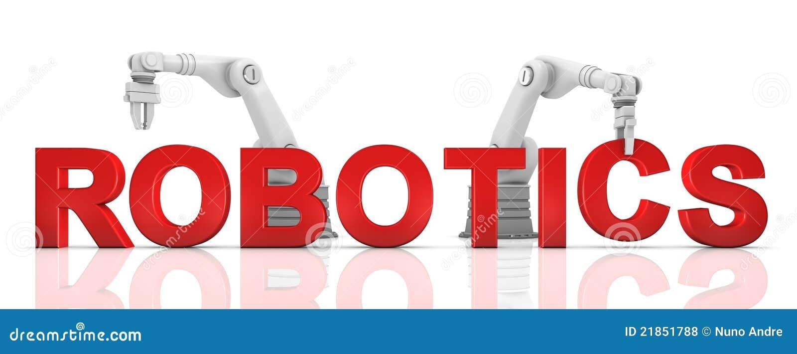 Bras robotiques industriels établissant le mot de ROBOTIQUE