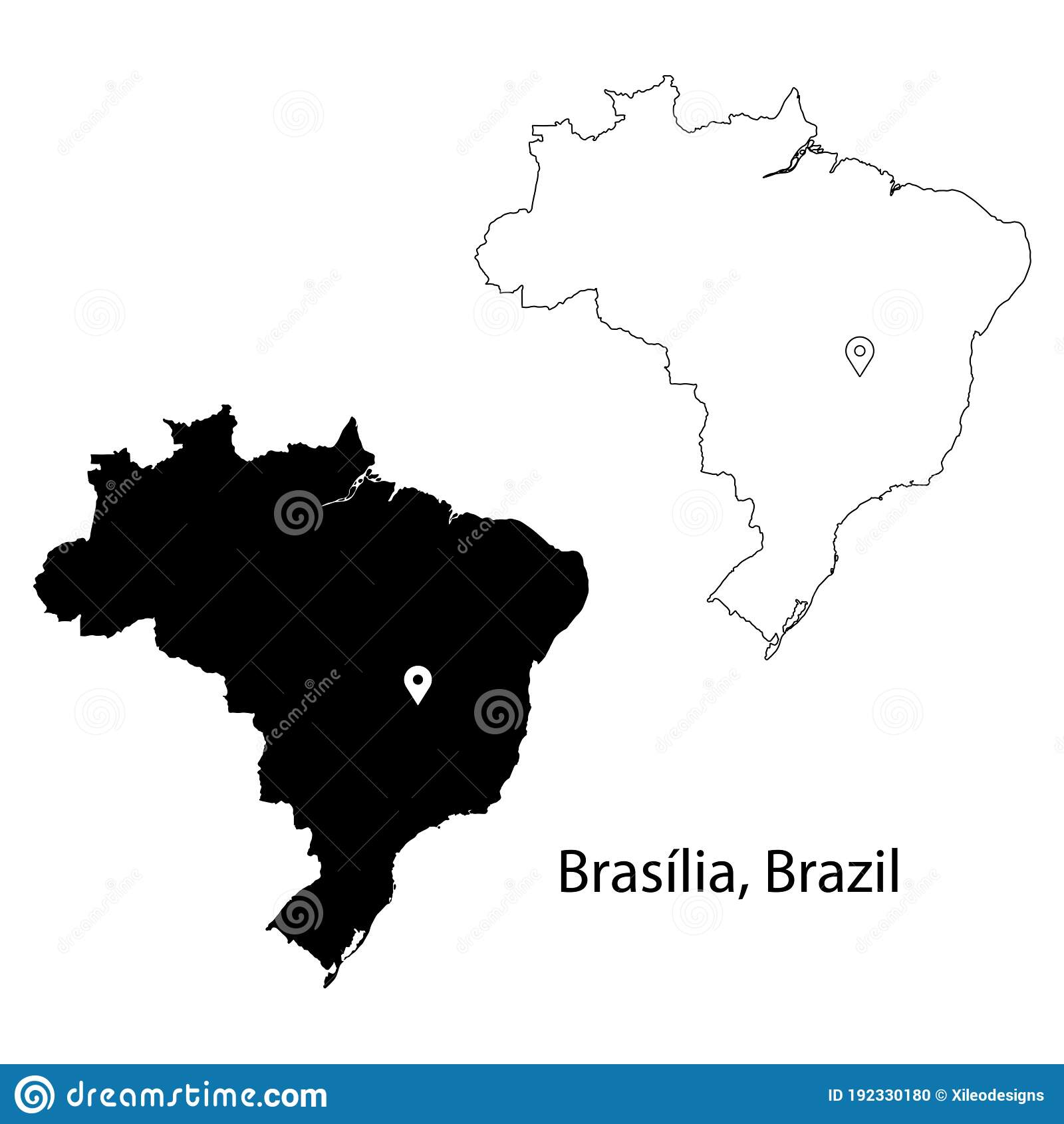 Picture of: Brasilia Brazil Detailed Country Map With Location Pin On Capital City Stock Vector Illustration Of City Drop 192330180