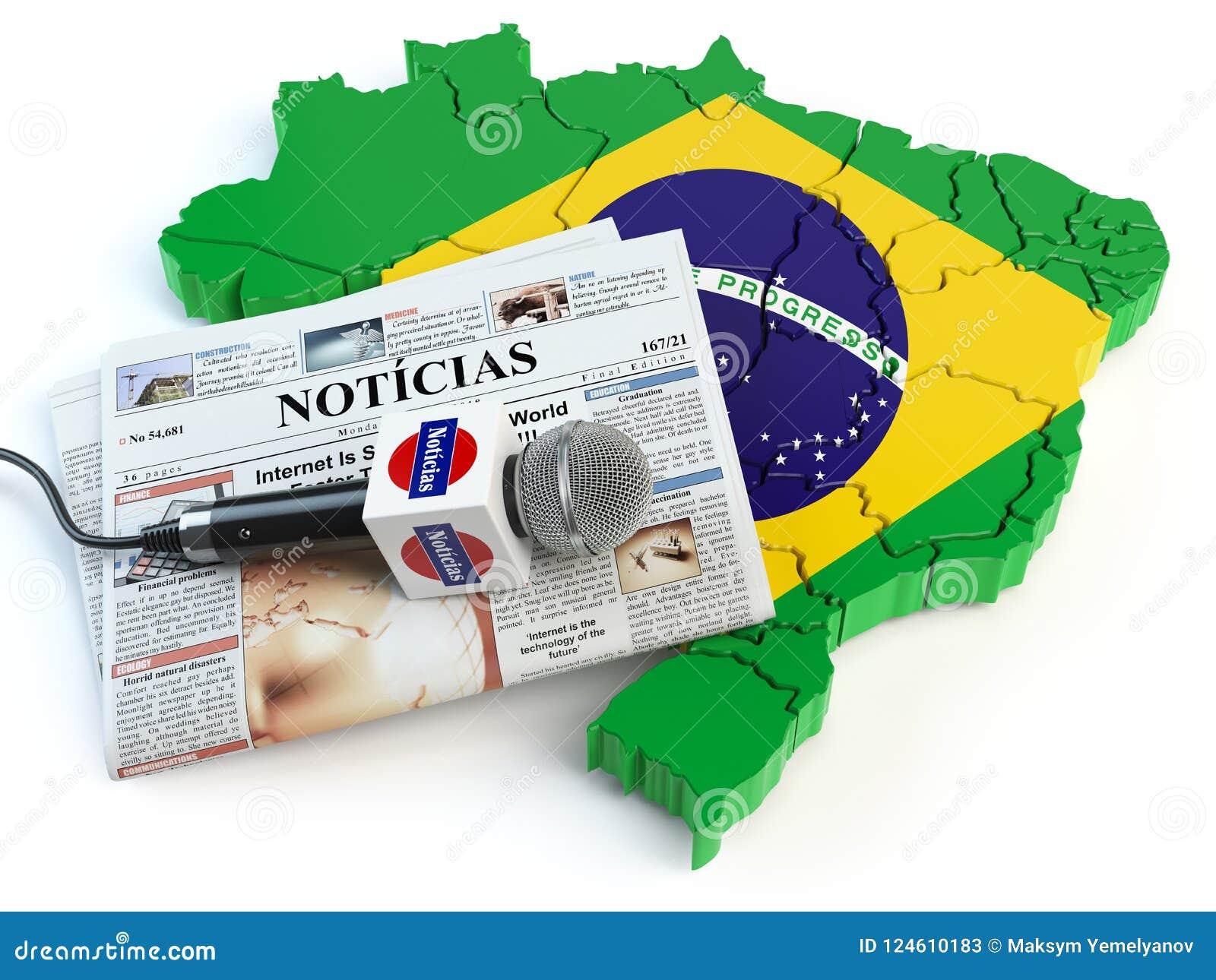 Brasilianische Nachrichten Presse Und Journalismuskonzept Mikrofon