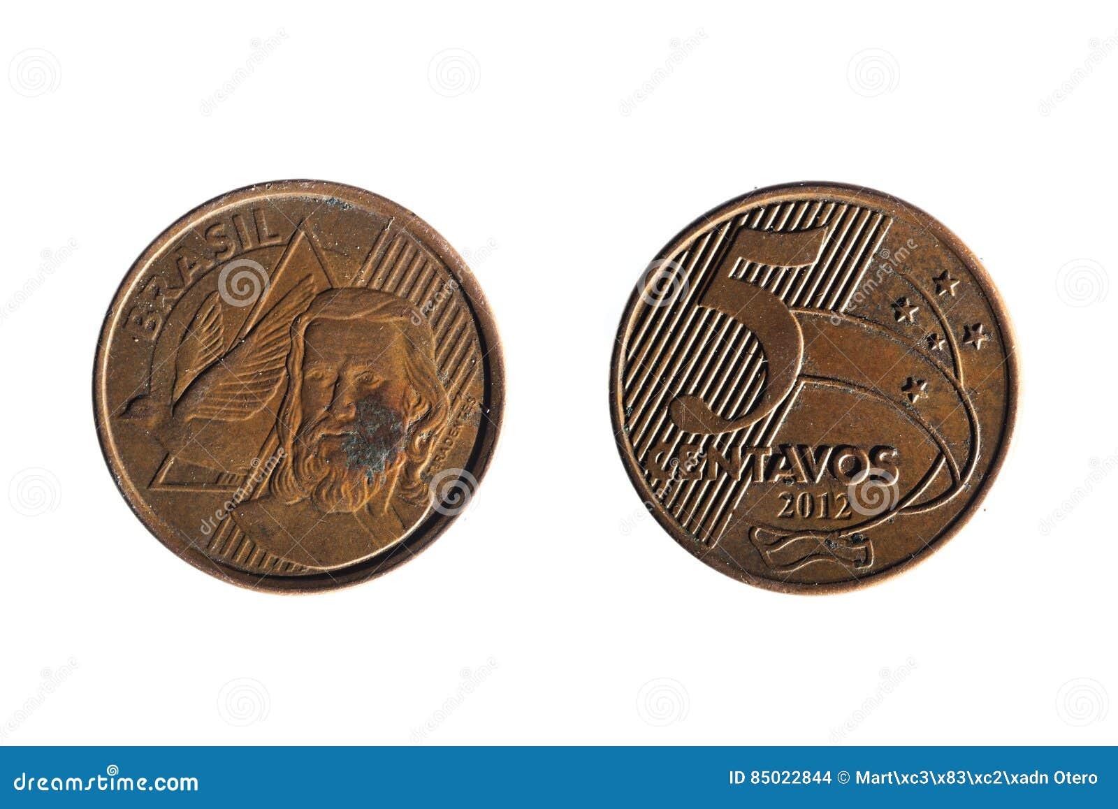 Brasilianische Wirkliche Fünf Cent Münze Stockfoto Bild Von Gold