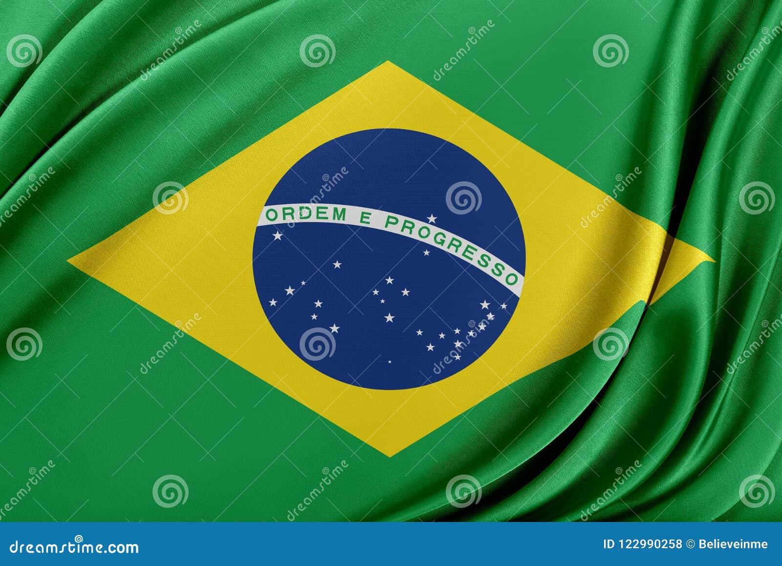 Brasilien flagga med en glansig siden- textur