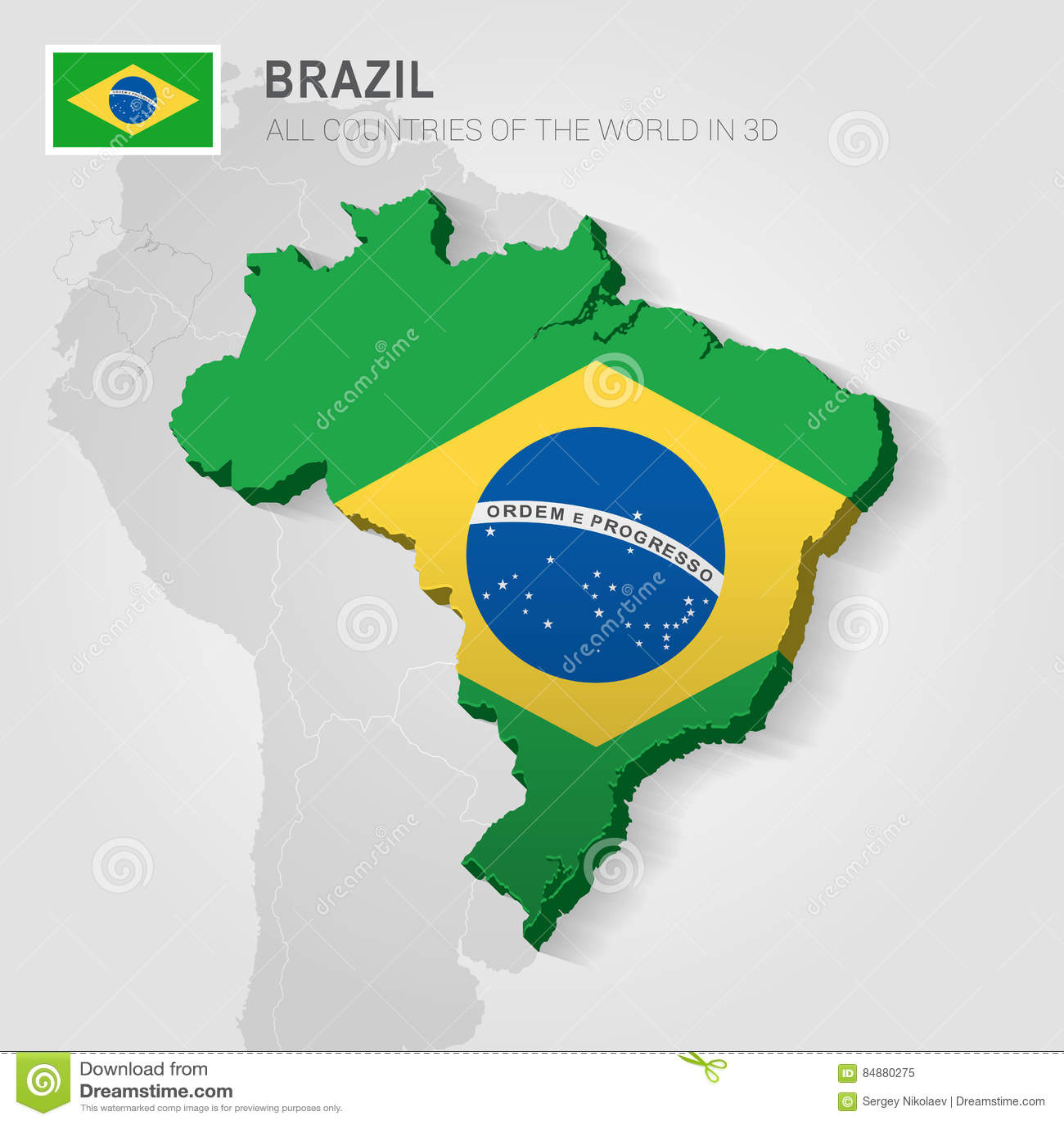 Brasilien Karte Welt.Brasilien Gezeichnet Auf Graue Karte Vektor Abbildung Illustration