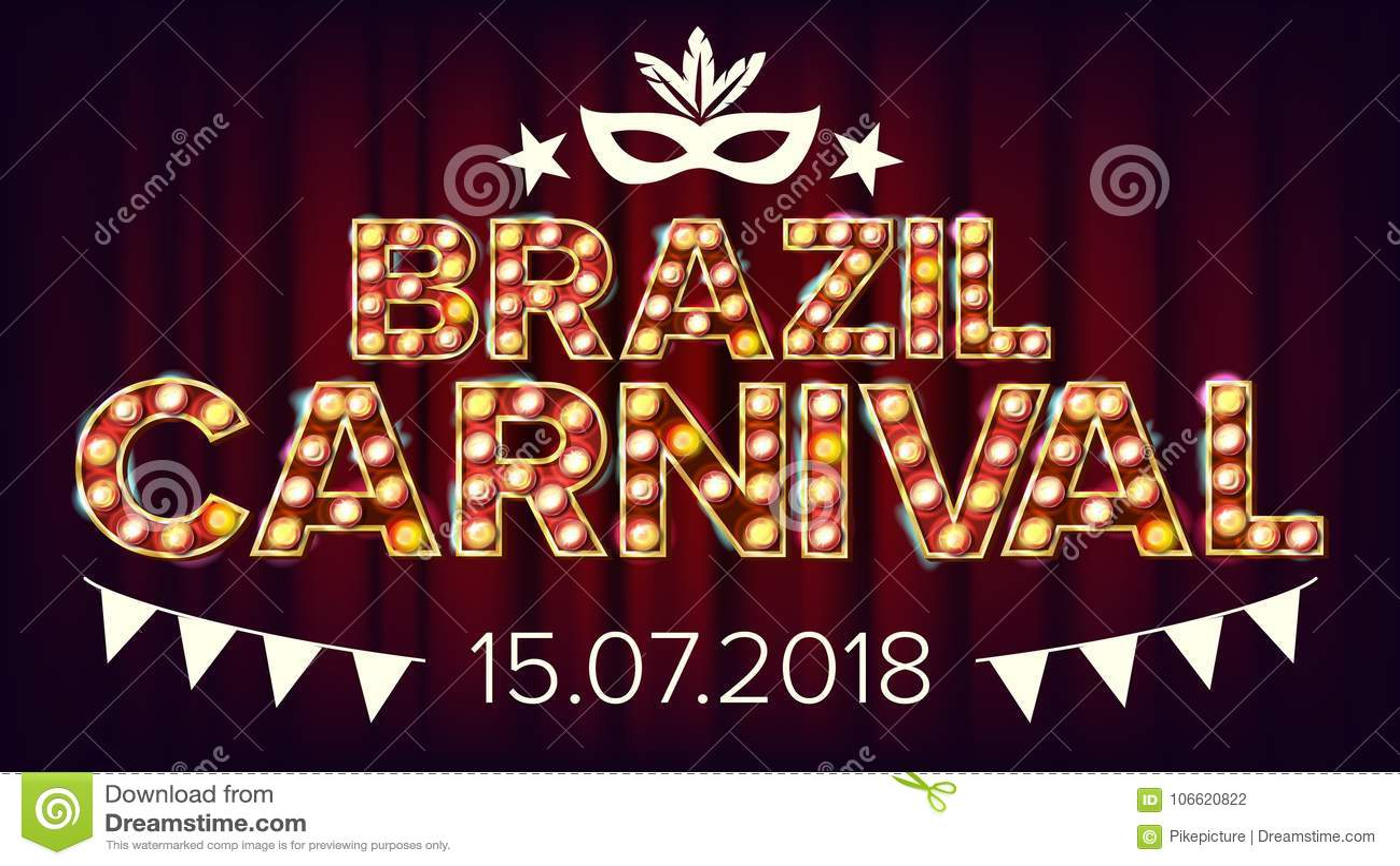 Brasilien-Karnevals-Fahnen-Vektor Karnevals-Lampen-Hintergrund Für musikalisches Partei-Fahnen-Design Retro- Abbildung