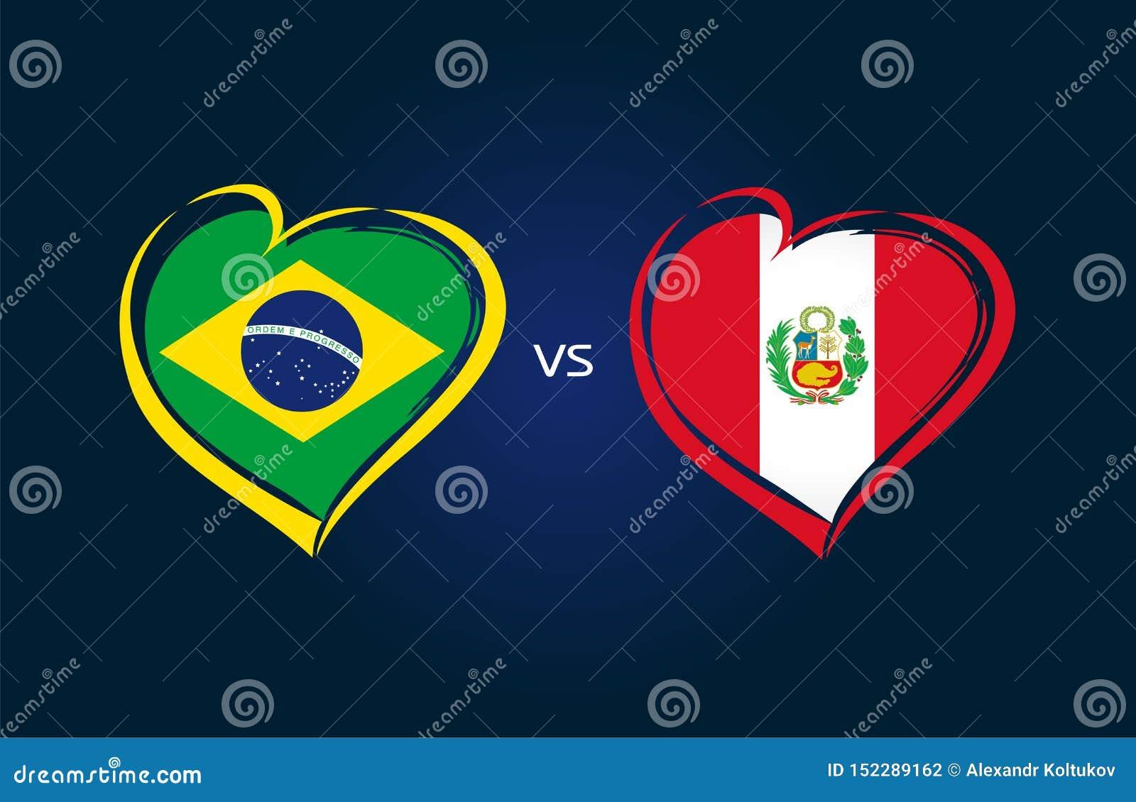 Brasilien vs Peru, landslagflaggor på blå bakgrund
