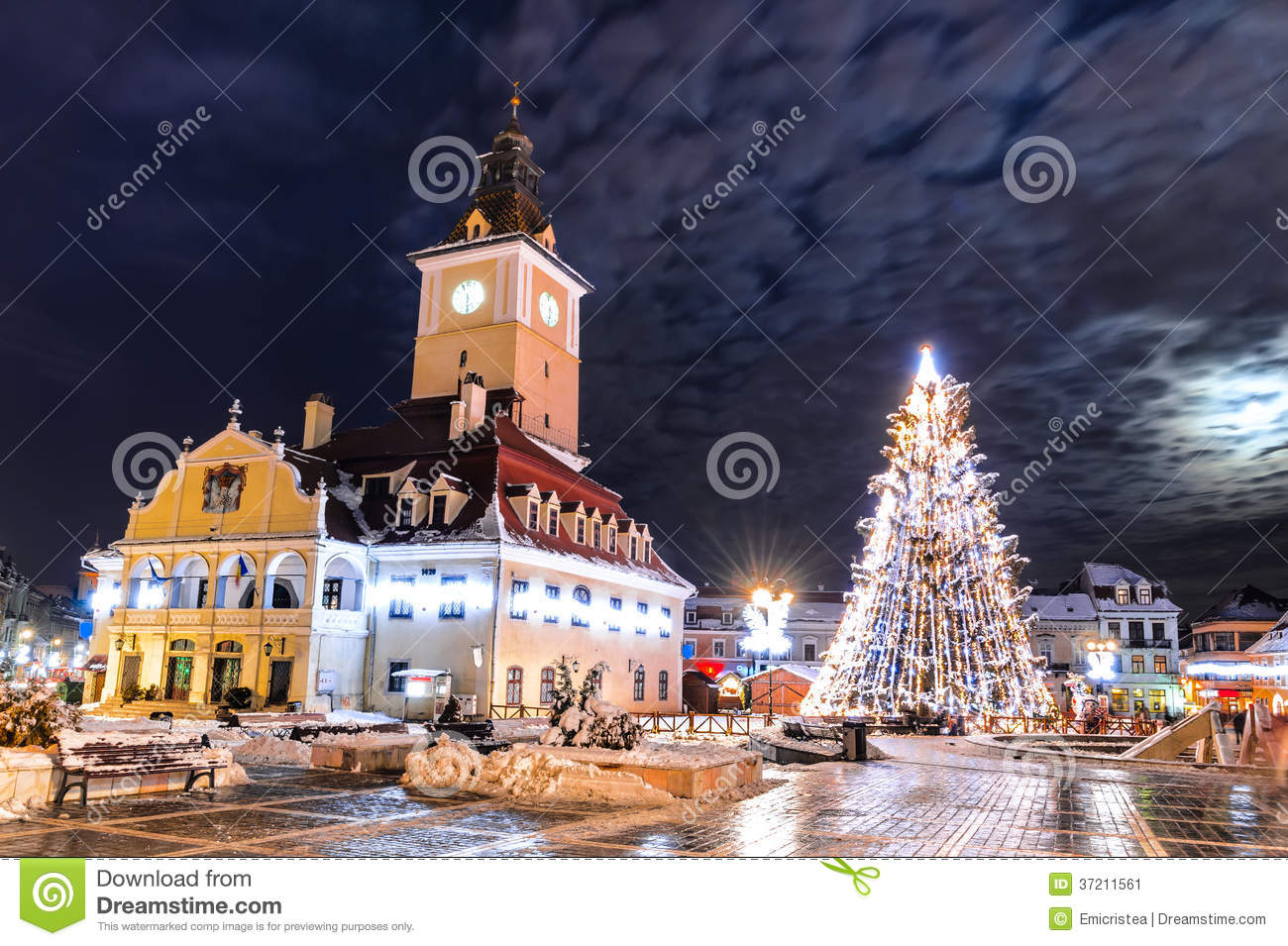 Brasov Council Square Christmas In Romania Editorial