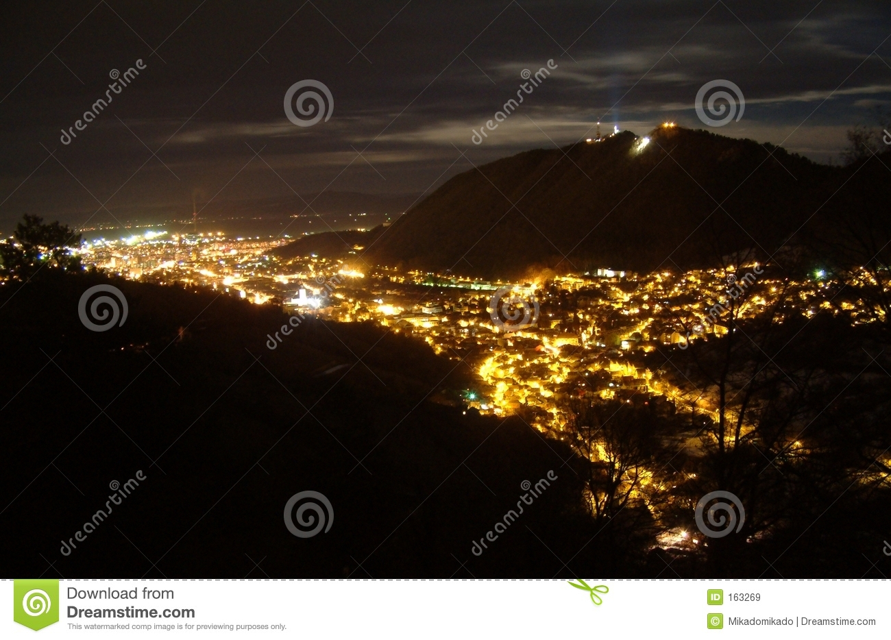 Brasov overview at night