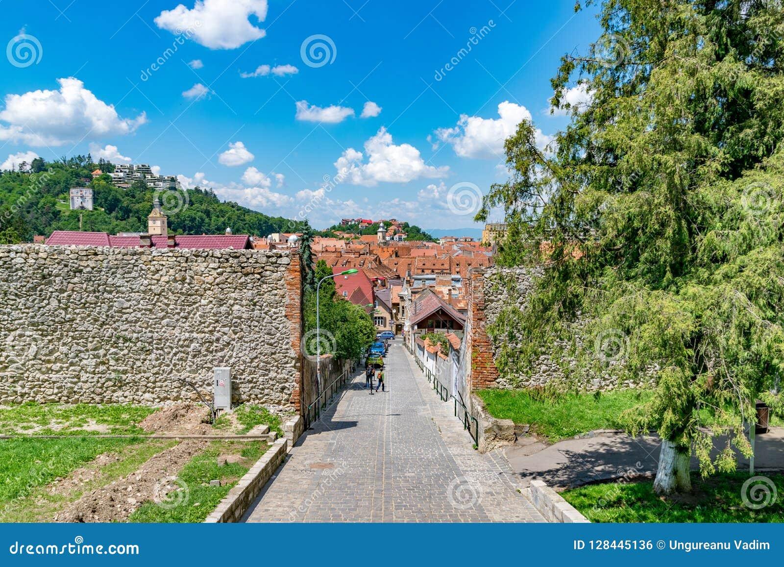 BRASOV, ROMANIA - 19 JUNE, 2018: Beautiful street in Brasov, Romania