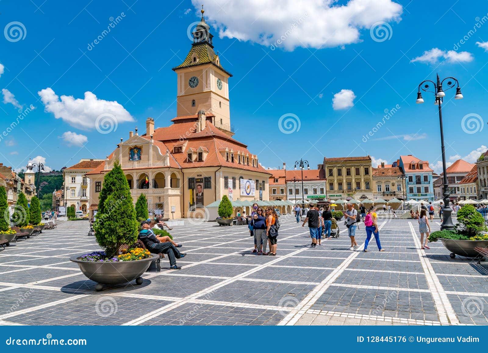 BRASOV, ROMANIA - 19 JUNE, 2018: Council house in the main square in Brasov, Romania