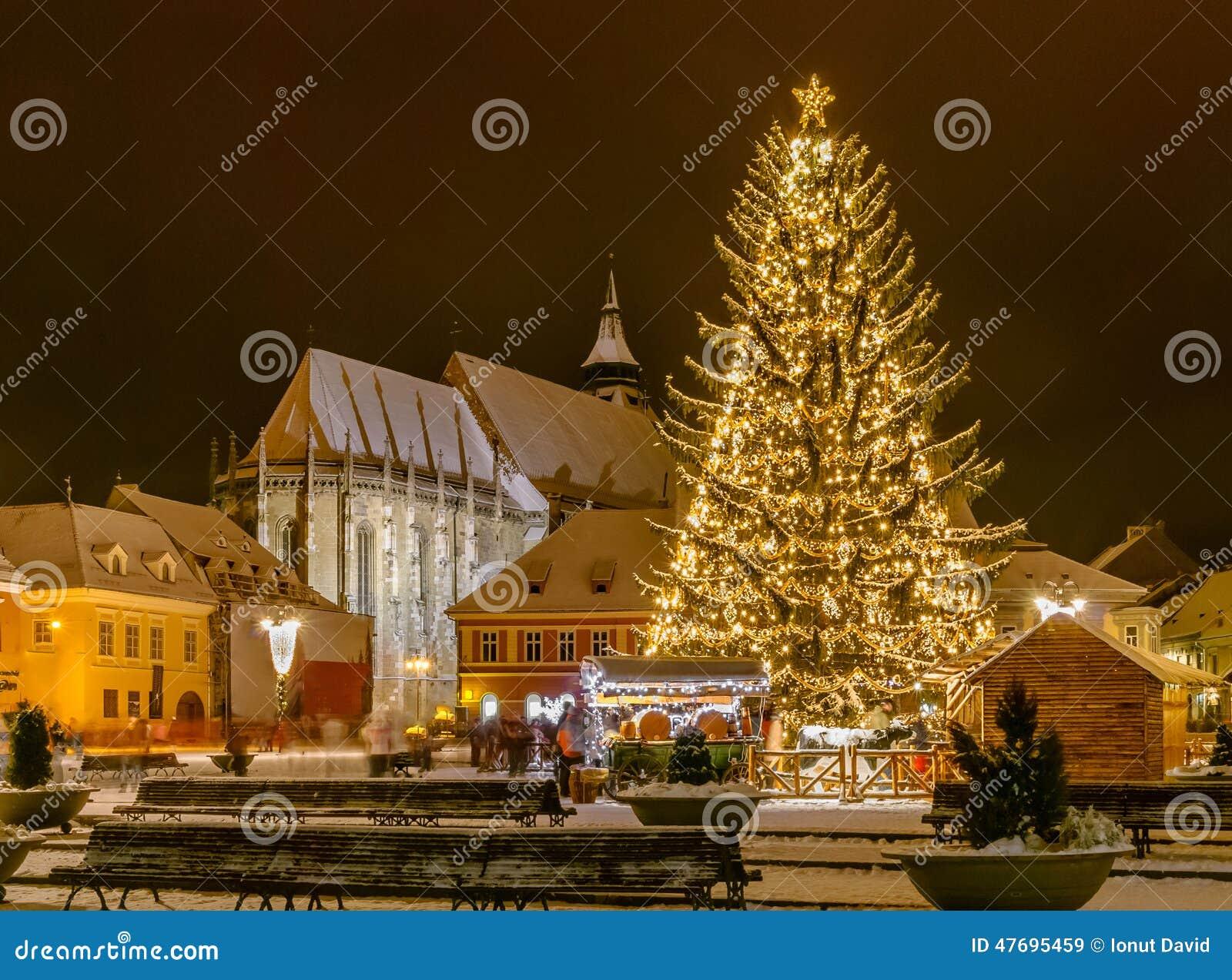 Brasov, Romania With An Old Christmas Tree Stock Photo 47695459 ...