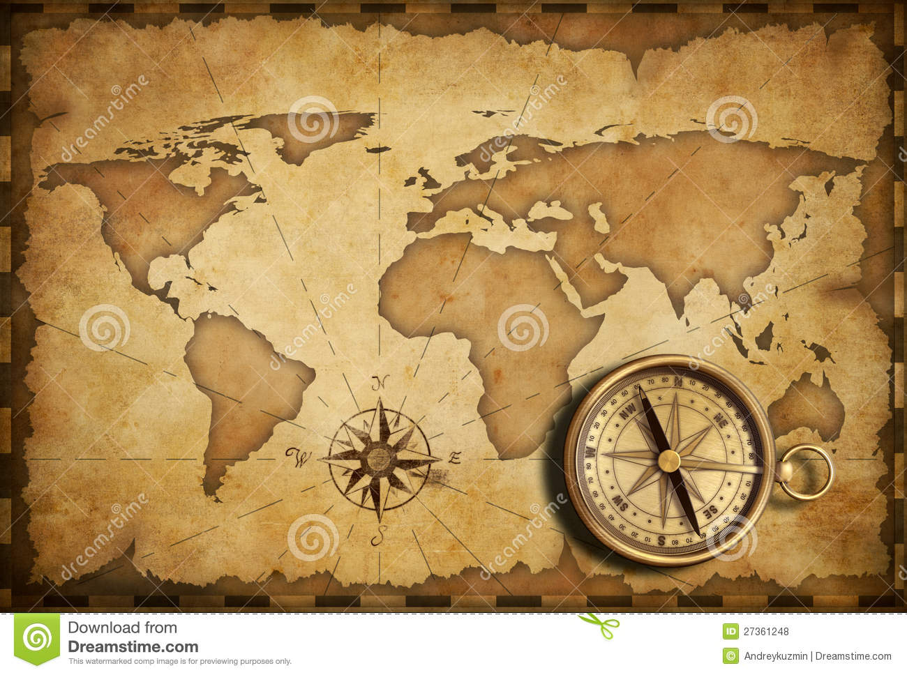 Brass Antique Nautical Compass With Old Map Royalty Free Stock - Antiques us maps with compass