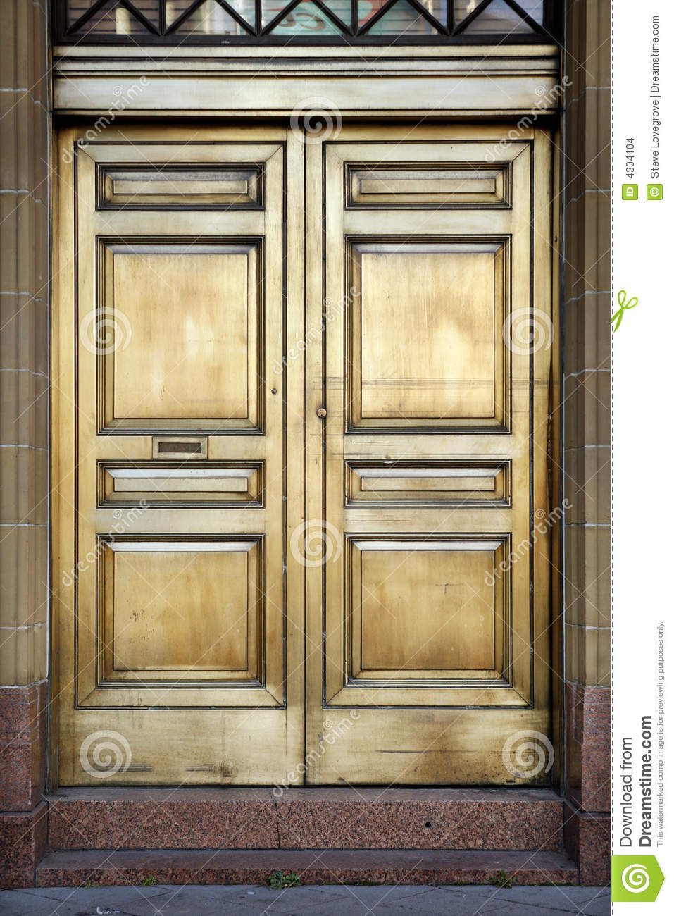 Brass Bank Doors Stock Photo  Image Of Wall  Edifice  Secure