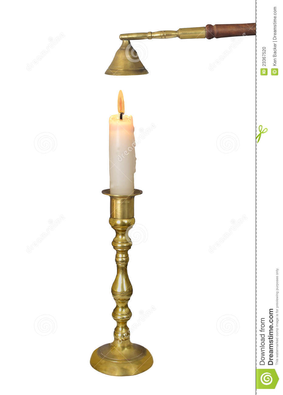 Brass candlestick with candle isolated.