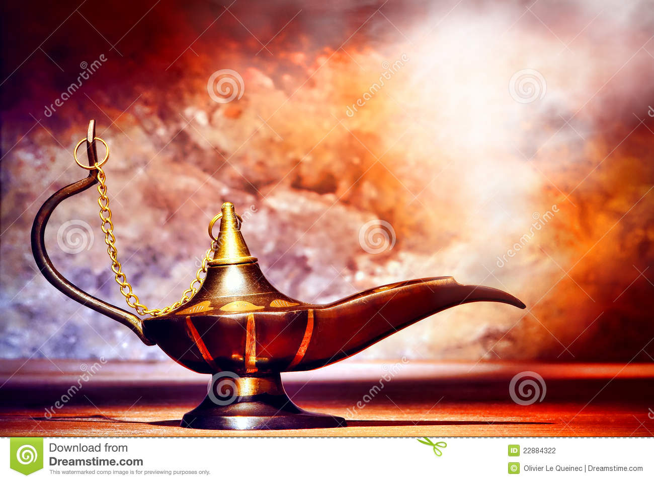 Brass and Copper Aladdin Style Oil Lamp with Smoke