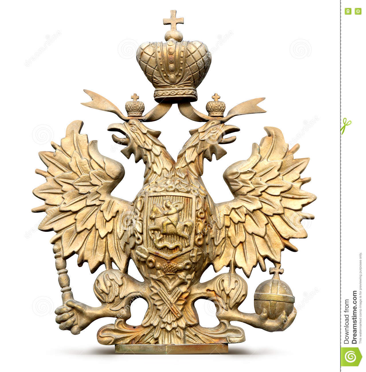 Brass double-headed eagle symbol of Russia