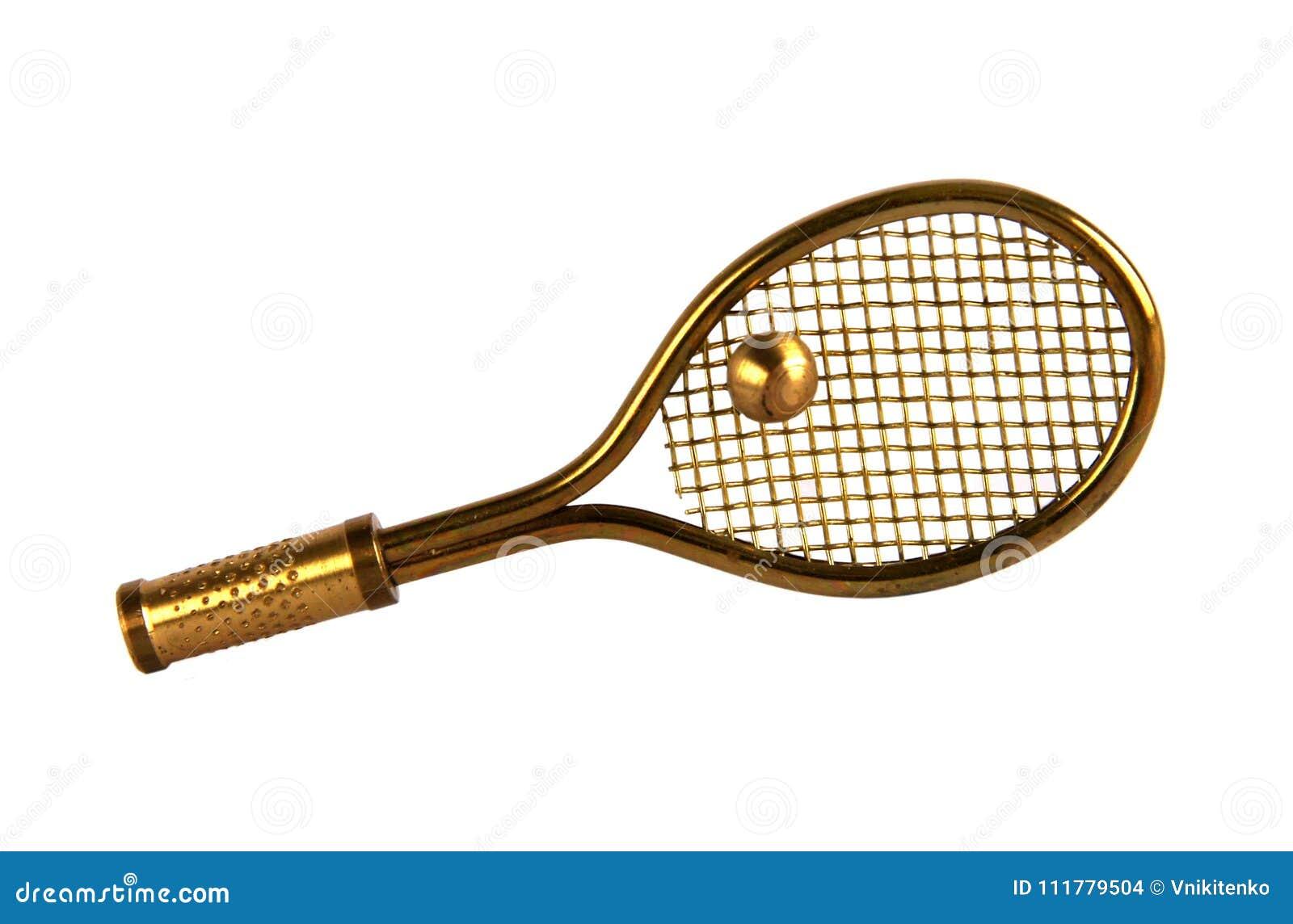 Brass tennis racket and ball