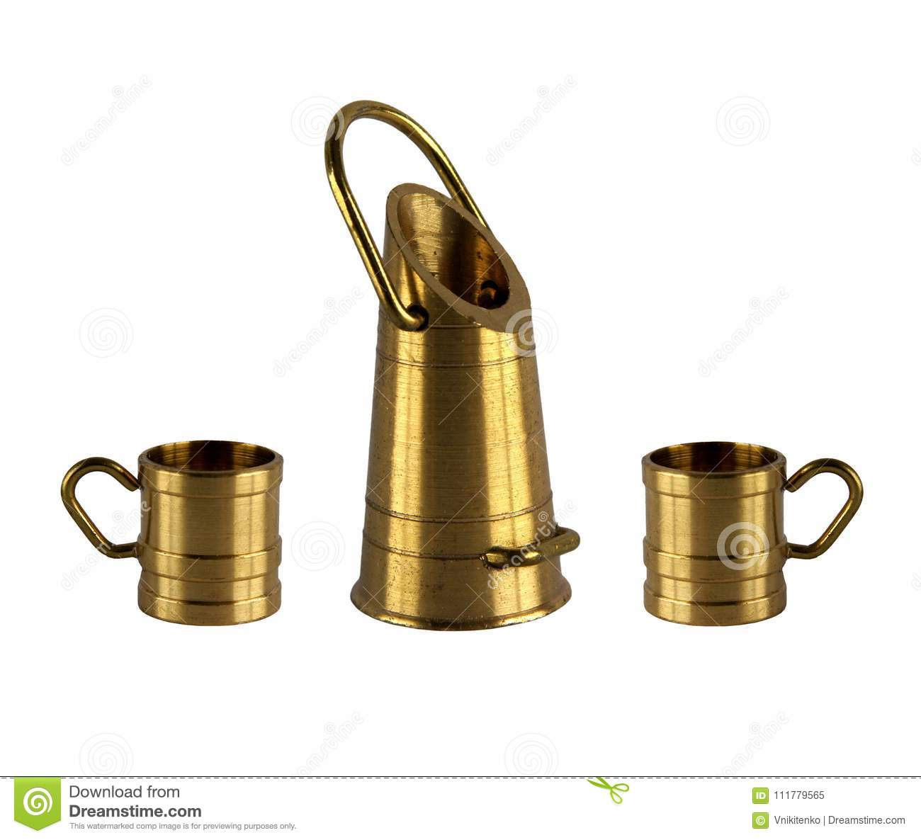 Vintage brass bucket and mugs