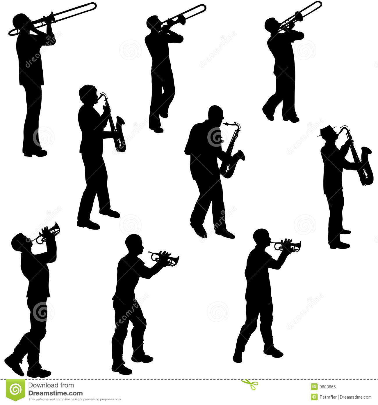 brass musician silhouettes stock vector illustration of element