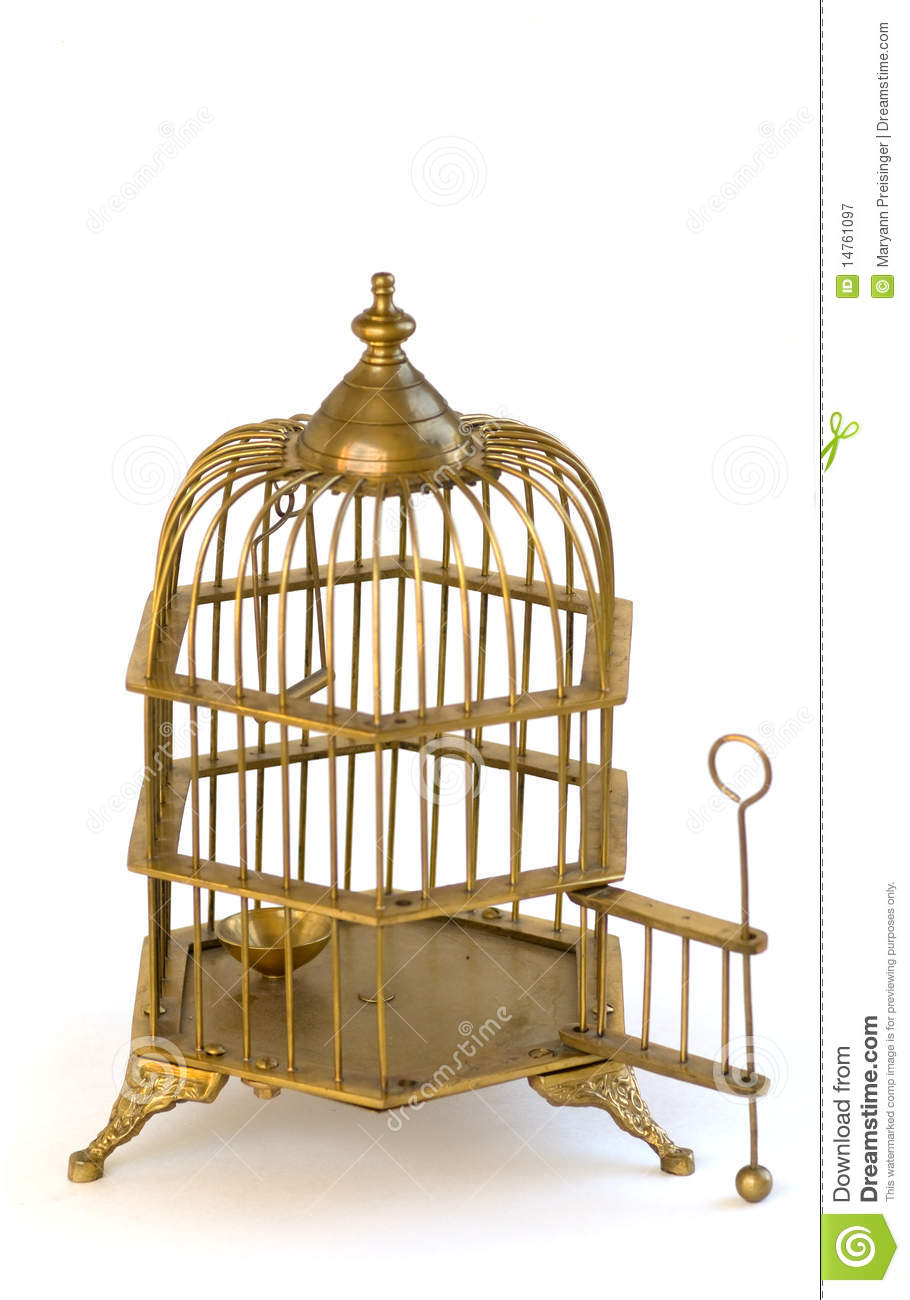 Brass Ornate Birdcage Cage Open Door. Royalty Free Stock ...