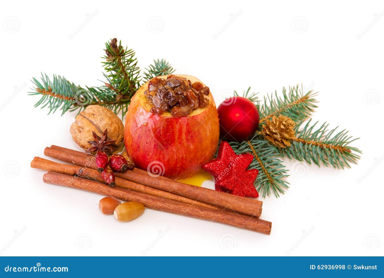 bratapfel mit der weihnachtsdekoration lokalisiert stockfoto bild 62936998. Black Bedroom Furniture Sets. Home Design Ideas