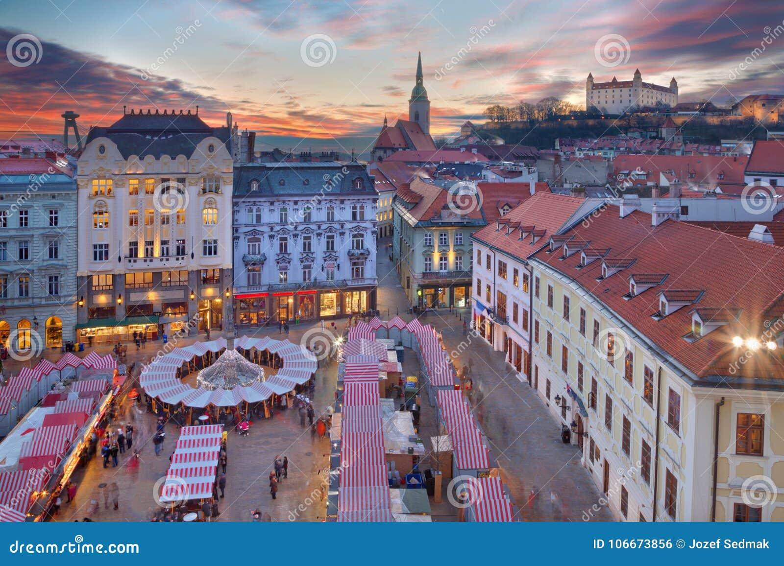 Christmas Bratislava.Bratislava Christmas Market On The Main Square In Evening