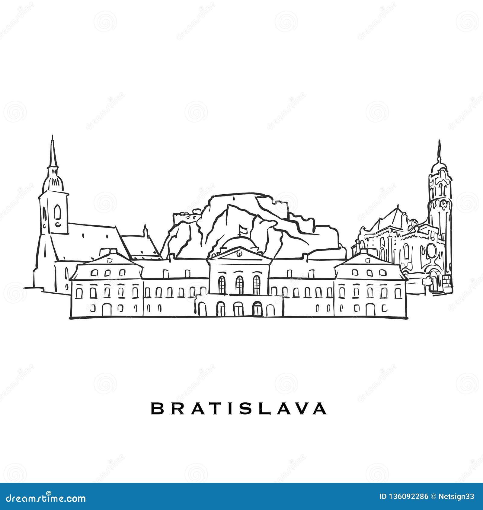 Bratislava Slovakia Famous Architecture Stock Vector