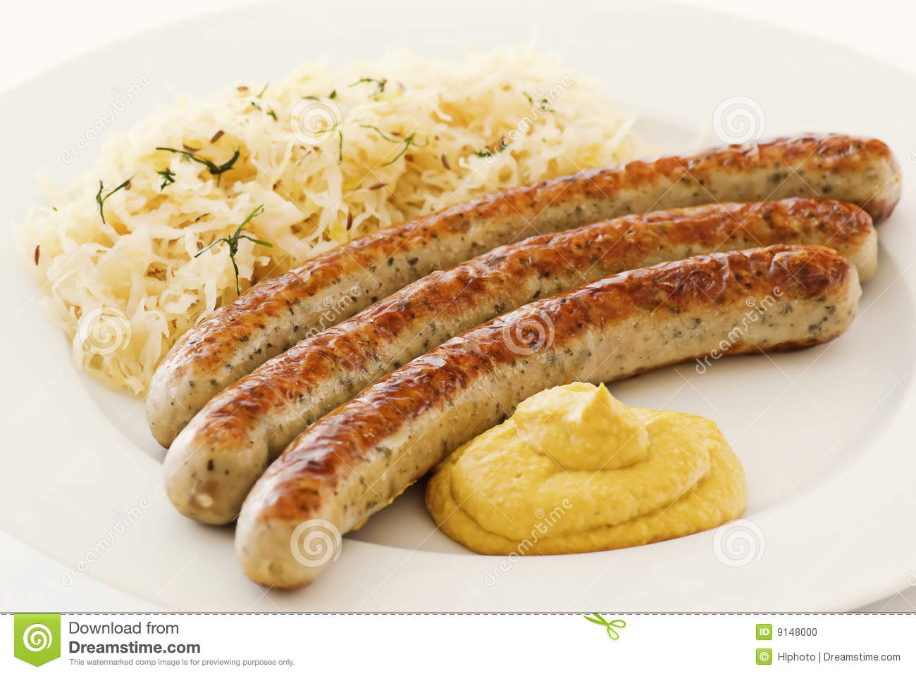 Bratwurst With Sauerkraut Stock Photo - Image: 9148000