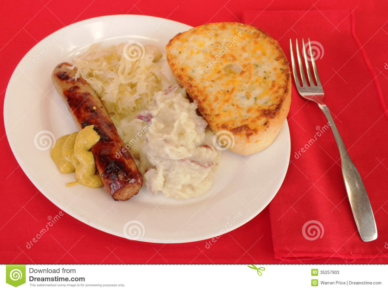 Bratwurst And Sauerkraut Stock Photos - Image: 35257903