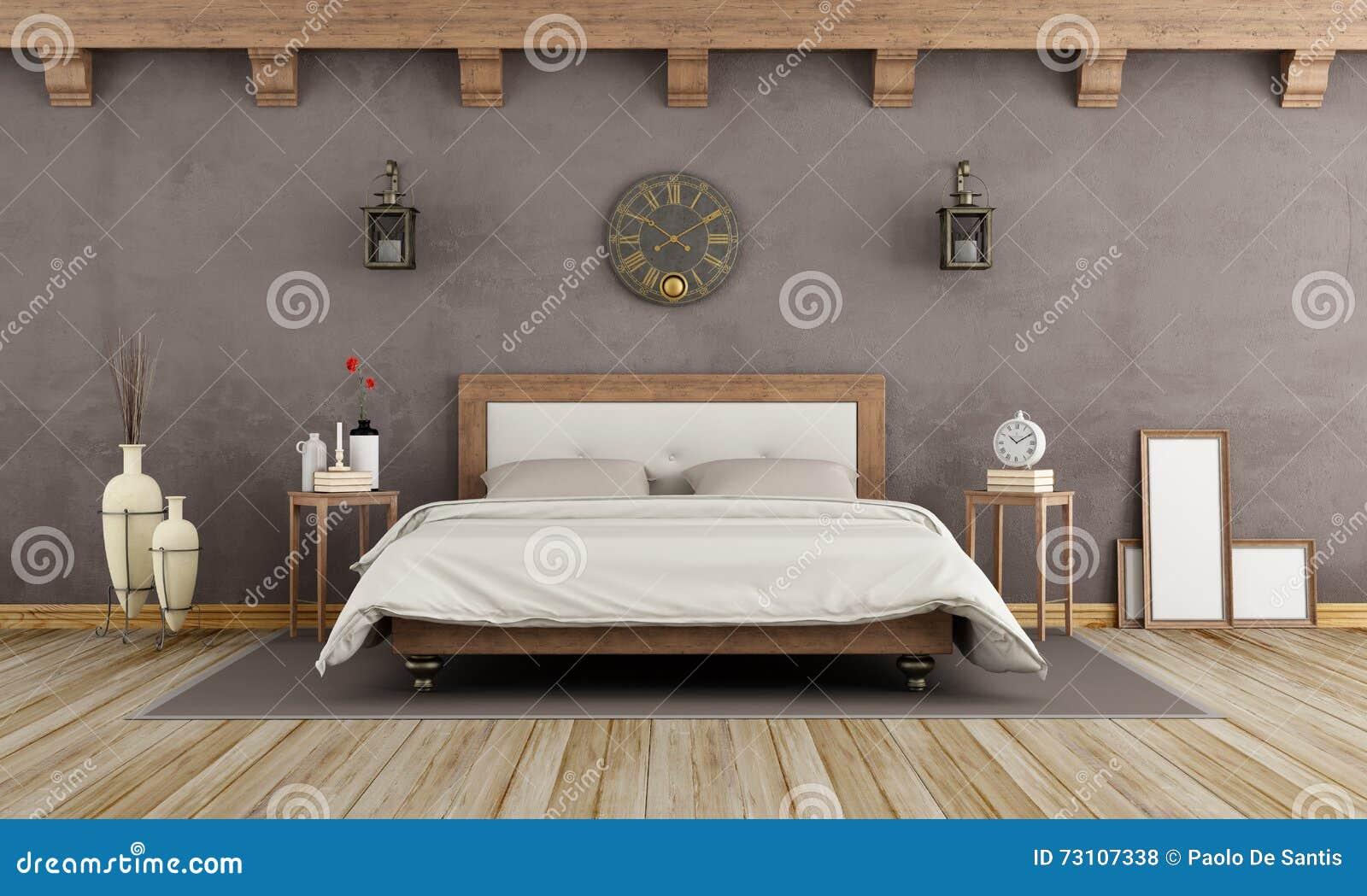 Braunes schlafzimmer der weinlese stock abbildung - Braunes schlafzimmer ...