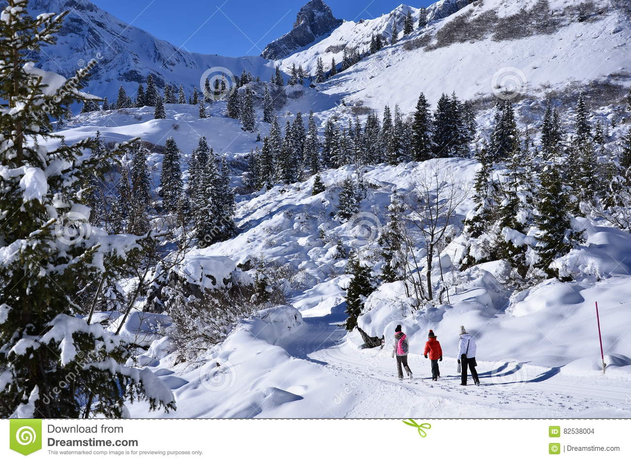 Braunwald In Switzerland Snow Christmas Mountains Stock Photo ...