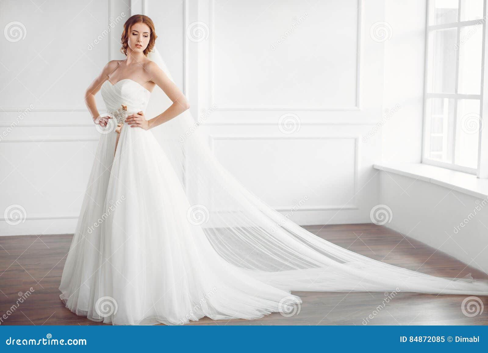 Braut Im Weissen Hochzeitskleid Mit Langem Schleier Stockbild Bild
