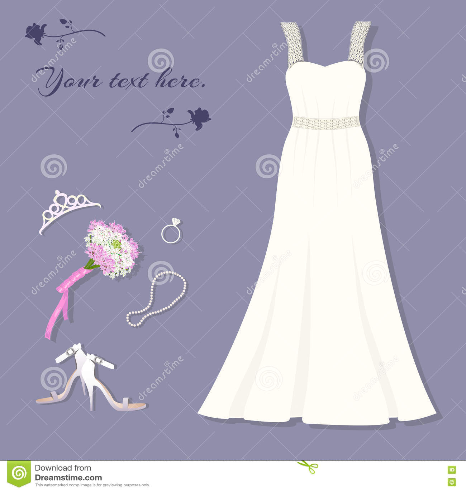 Braut ` S Satz Hochzeitskleid, Tiara, Ring, Schuhe, Blumenstrauß ...