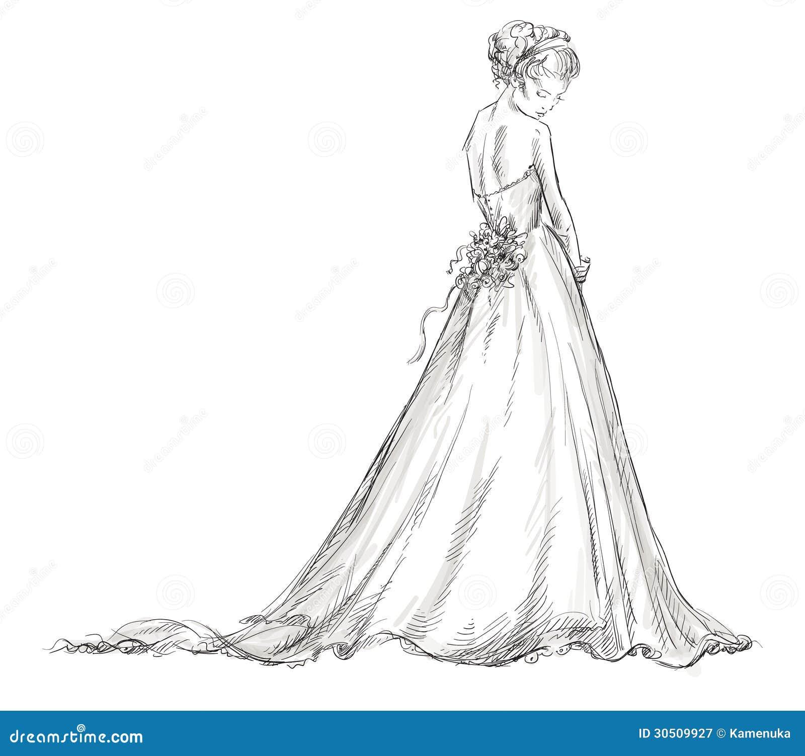 Schönes Mädchen. Braut. Brautkleid. Hand Gezeichnet. V Vektor ...