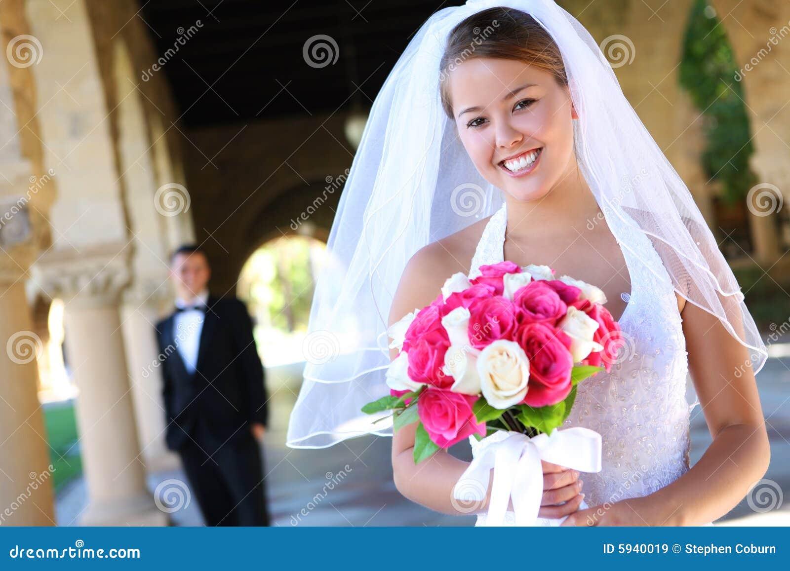 Braut und Bräutigam an der Hochzeit