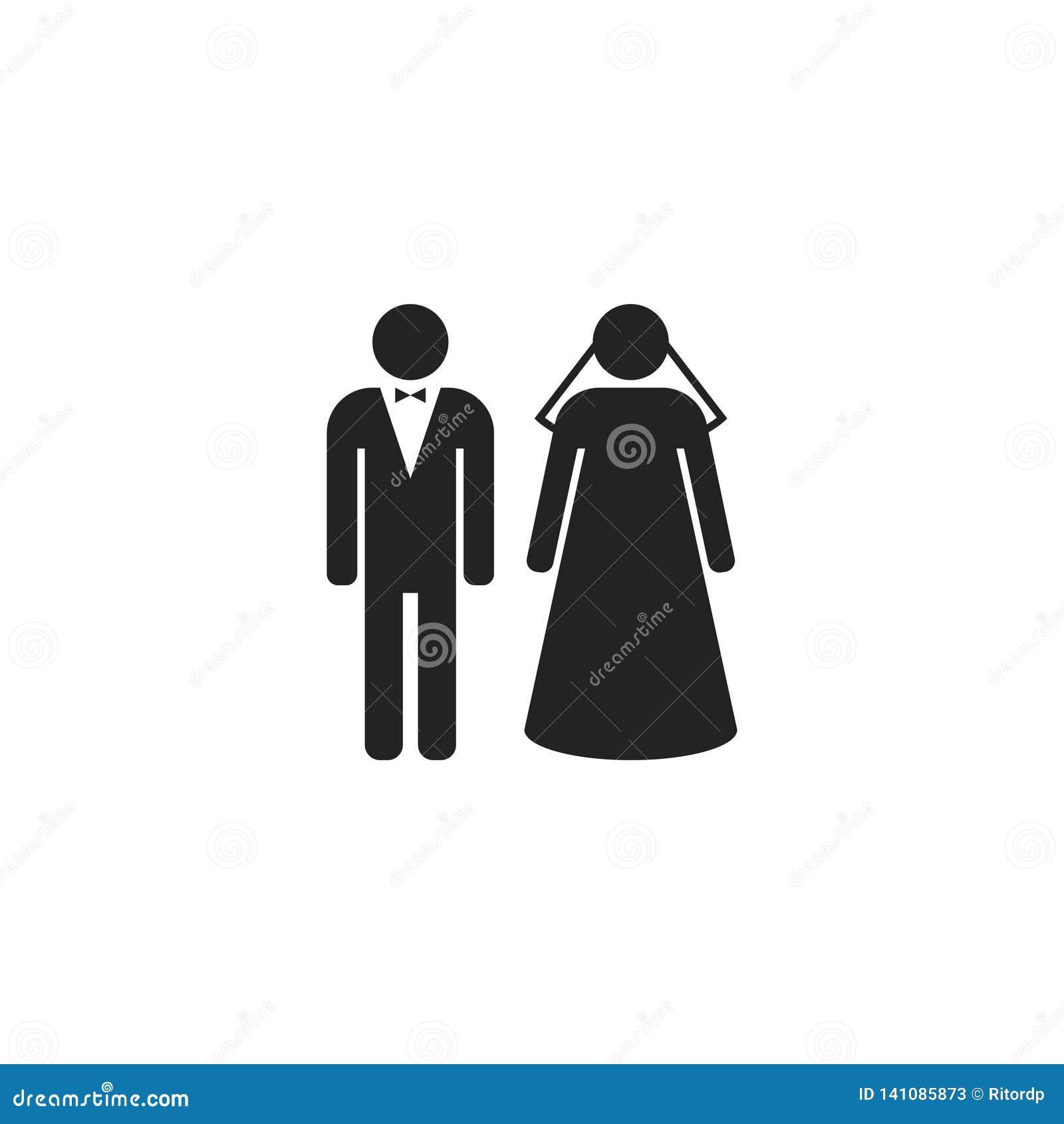 Braut und Bräutigam Glyph Vector Icon, Symbol oder Logo
