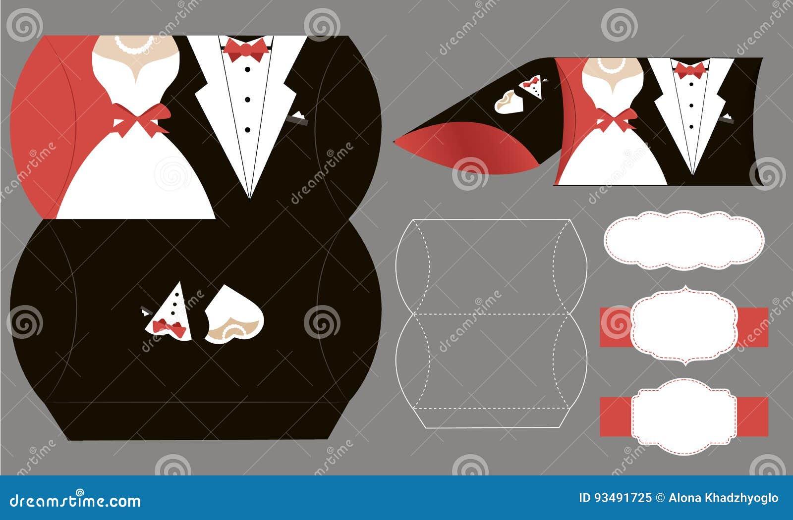 Braut und Bräutigam Papier-bonbonniere, Süßigkeitskasten Vektorkastenschablone