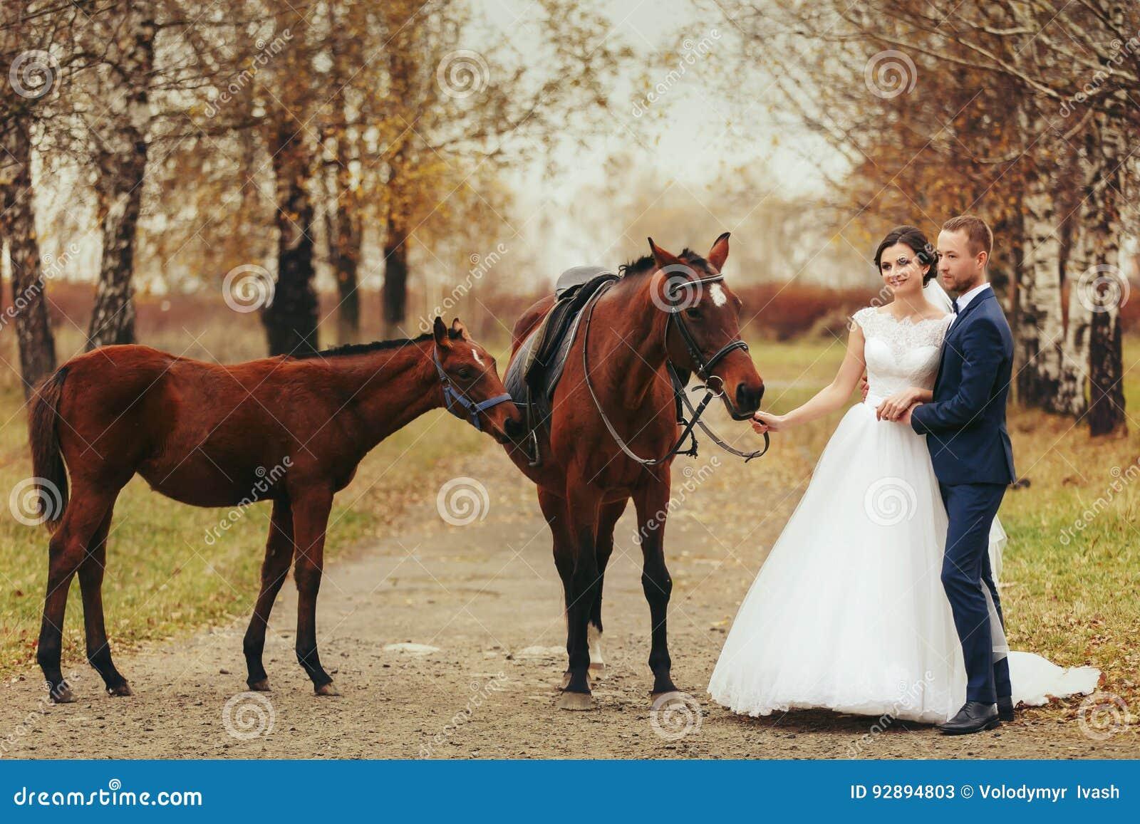 Braut und Bräutigam stehen auf der Herbststraße mit Pferden