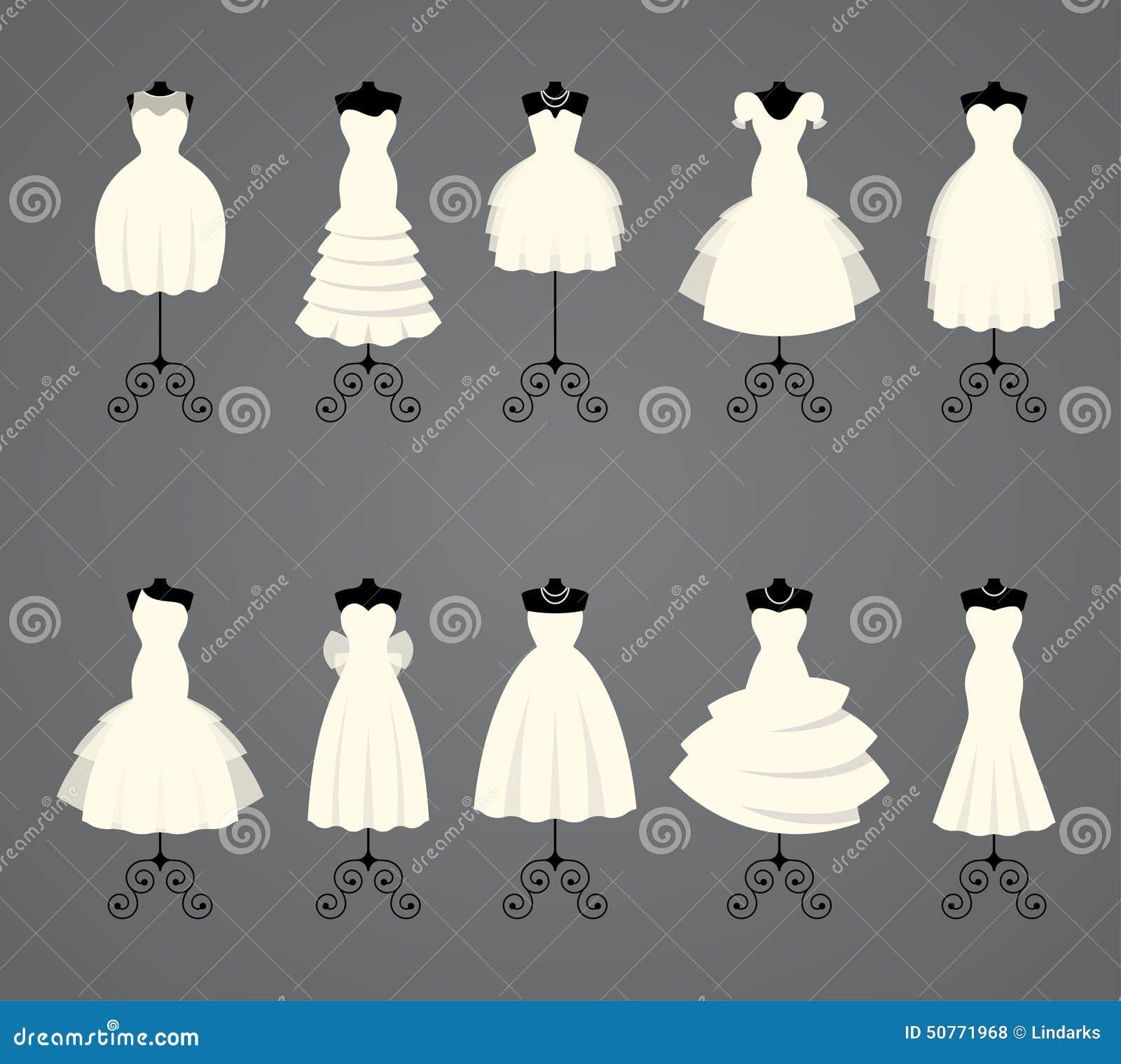 Brautkleider In Den Verschiedenen Arten Vektor Abbildung