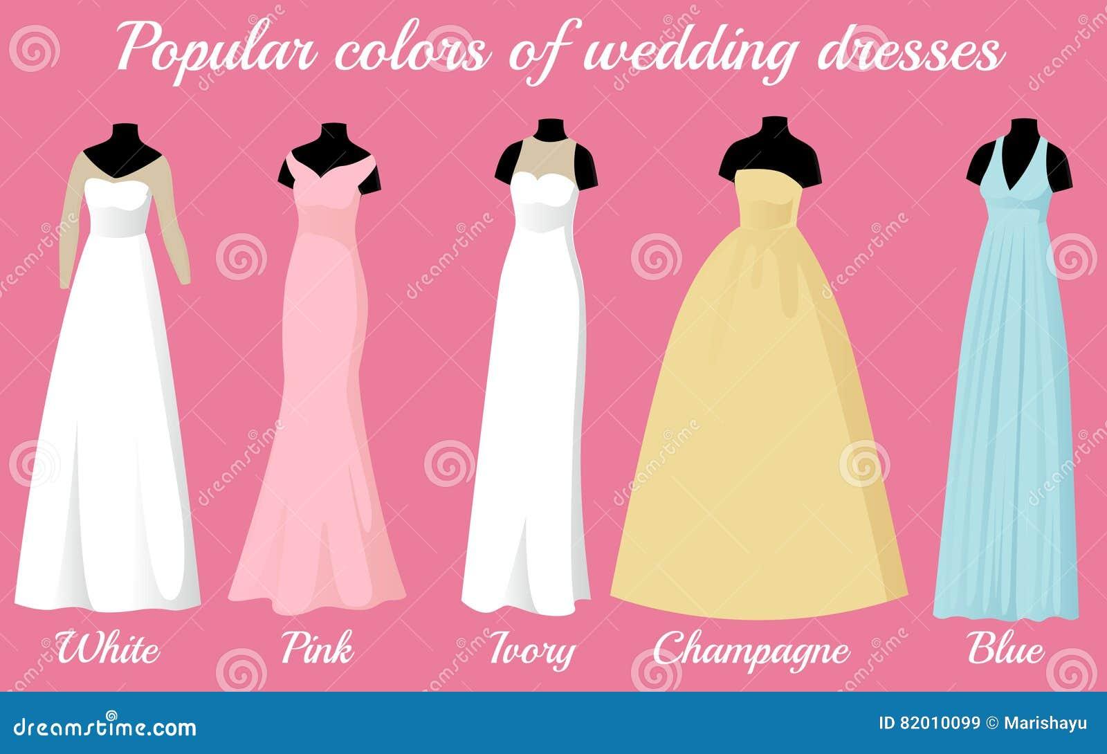 Brautkleider Von Populären Farben Auf Mannequins Vektor Abbildung
