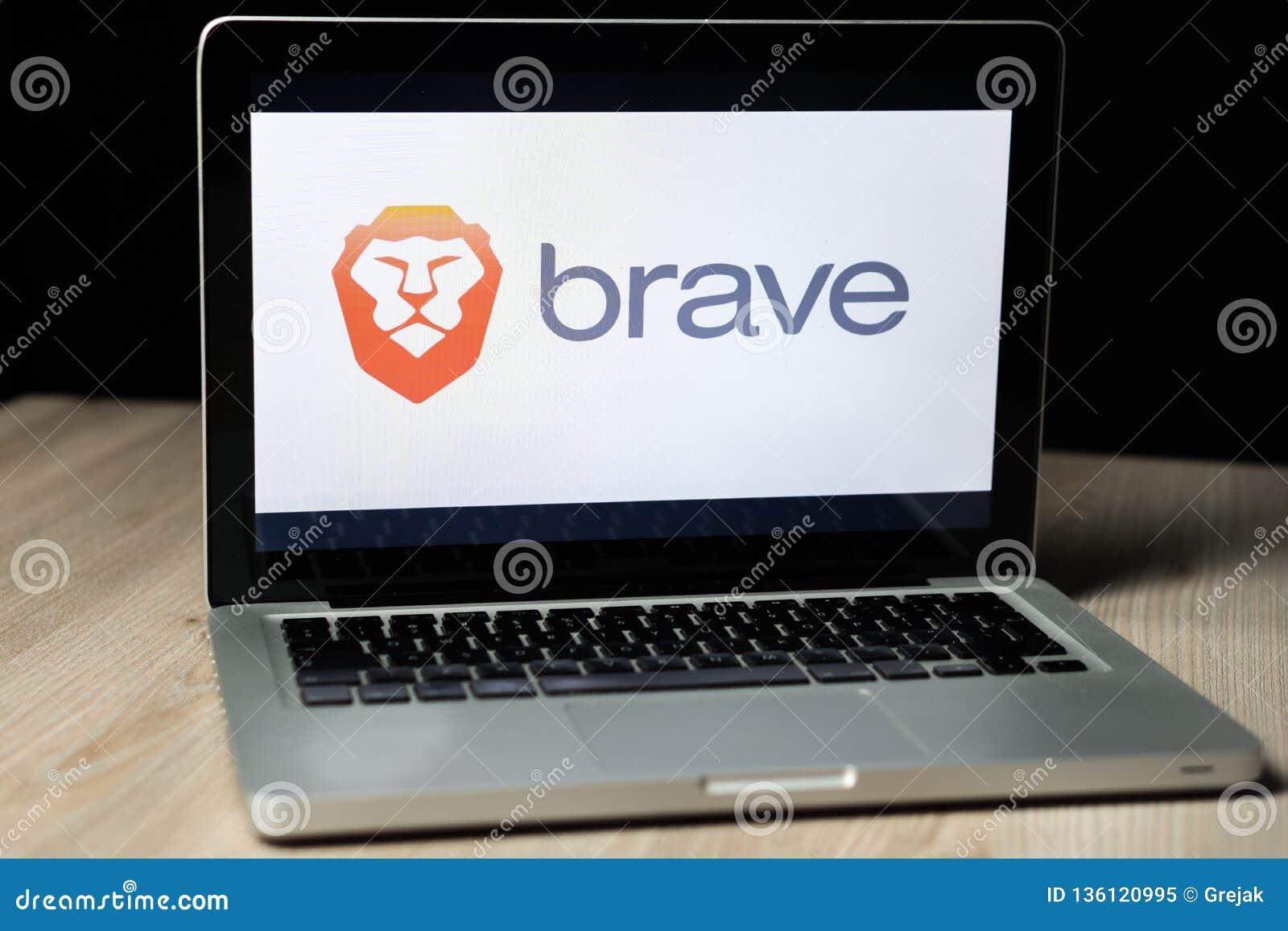 Brave Browser Logo On A Laptop Screen, Slovenia - December 23th