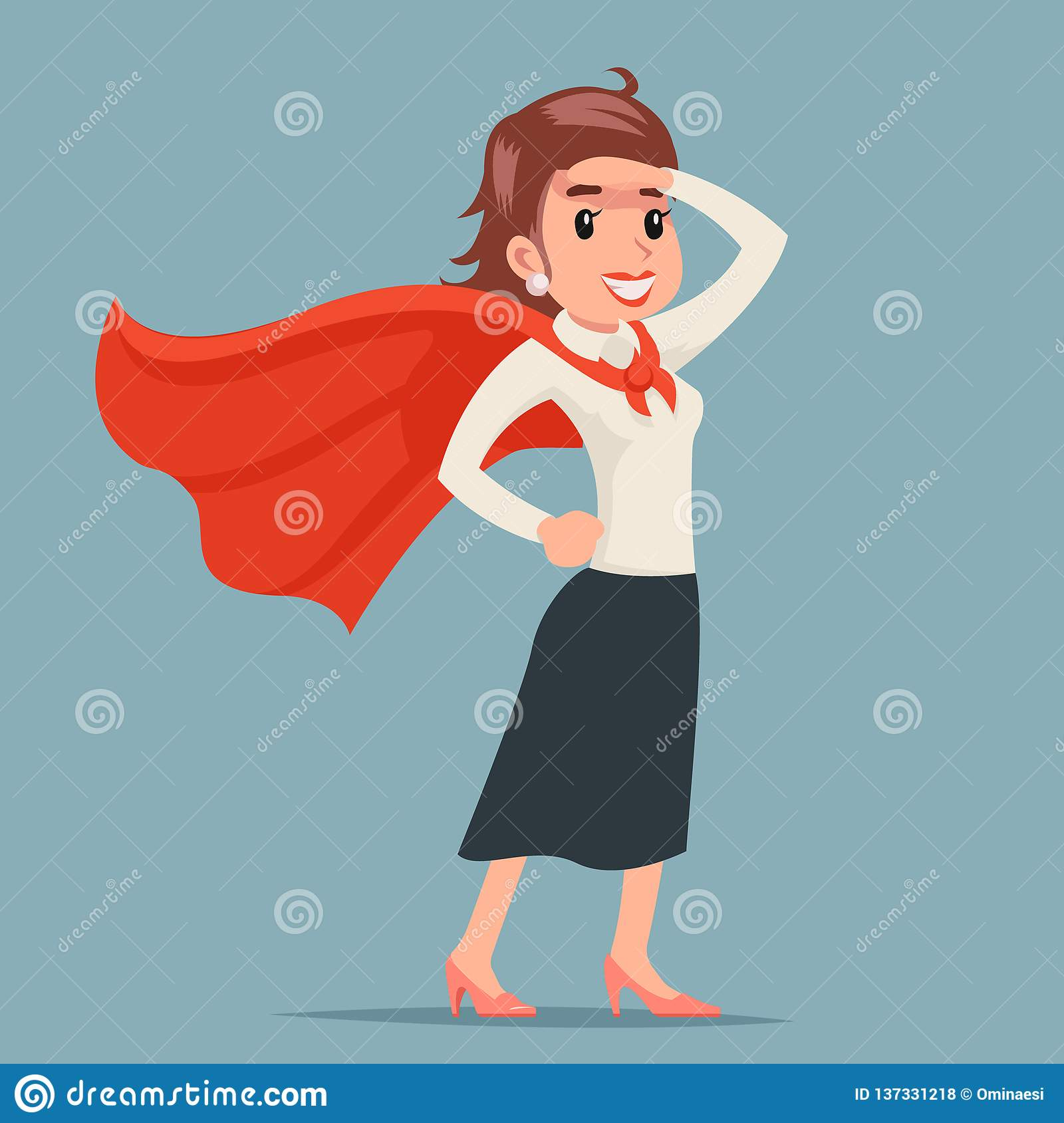 Brave Female Power Super Hero Ready For Action Businesswoman Girl Character Retro Woman Cartoon Design Vector Stock Vector Illustration Of Body Design 137331218