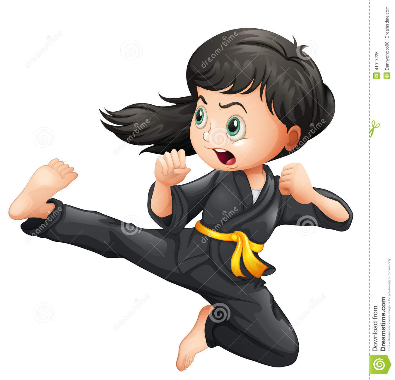 Illustration of a brave girl doing karate on a white background.